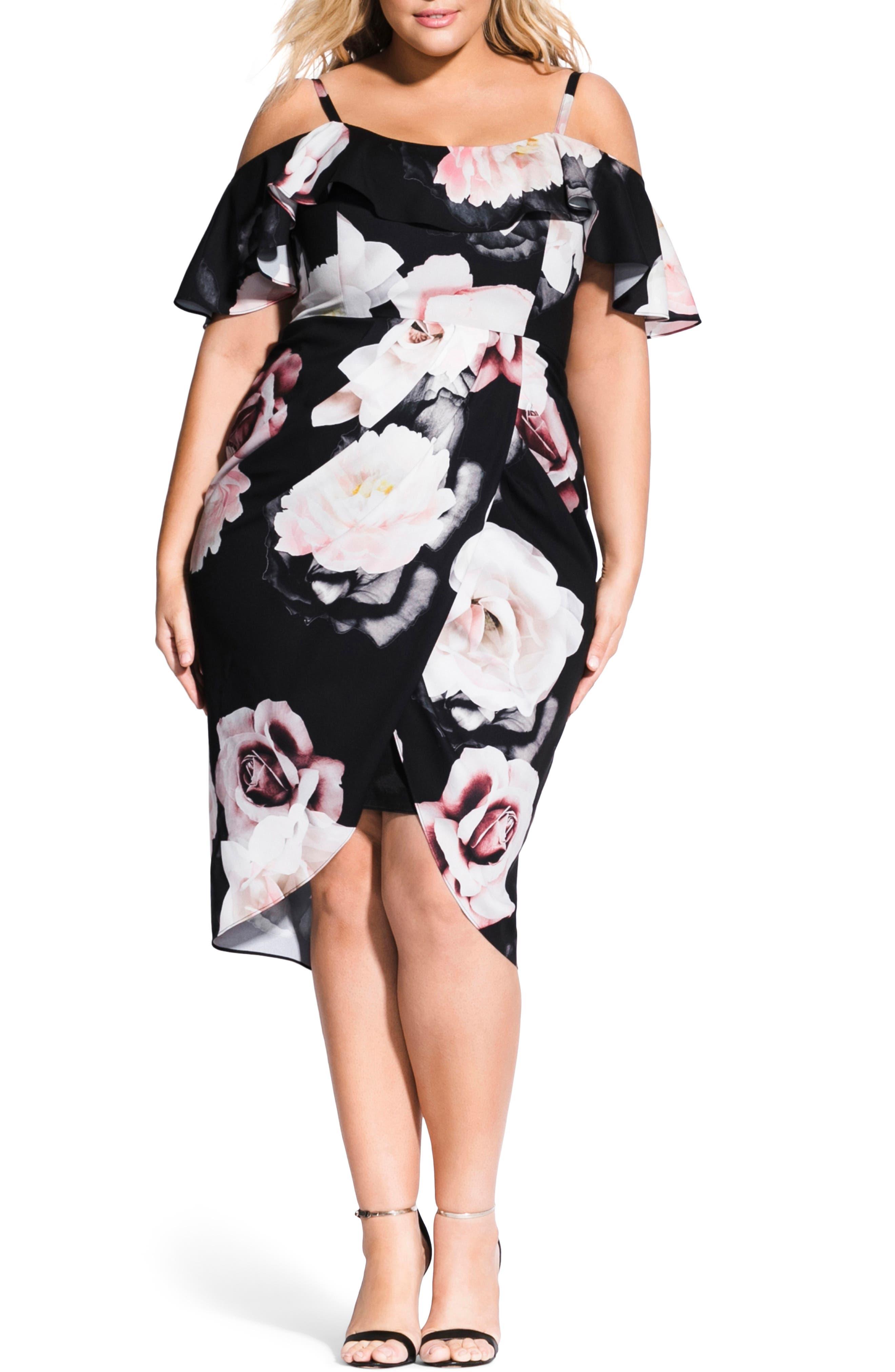 Plus Size City Chic Austin Cold Shoulder Floral Dress, Black