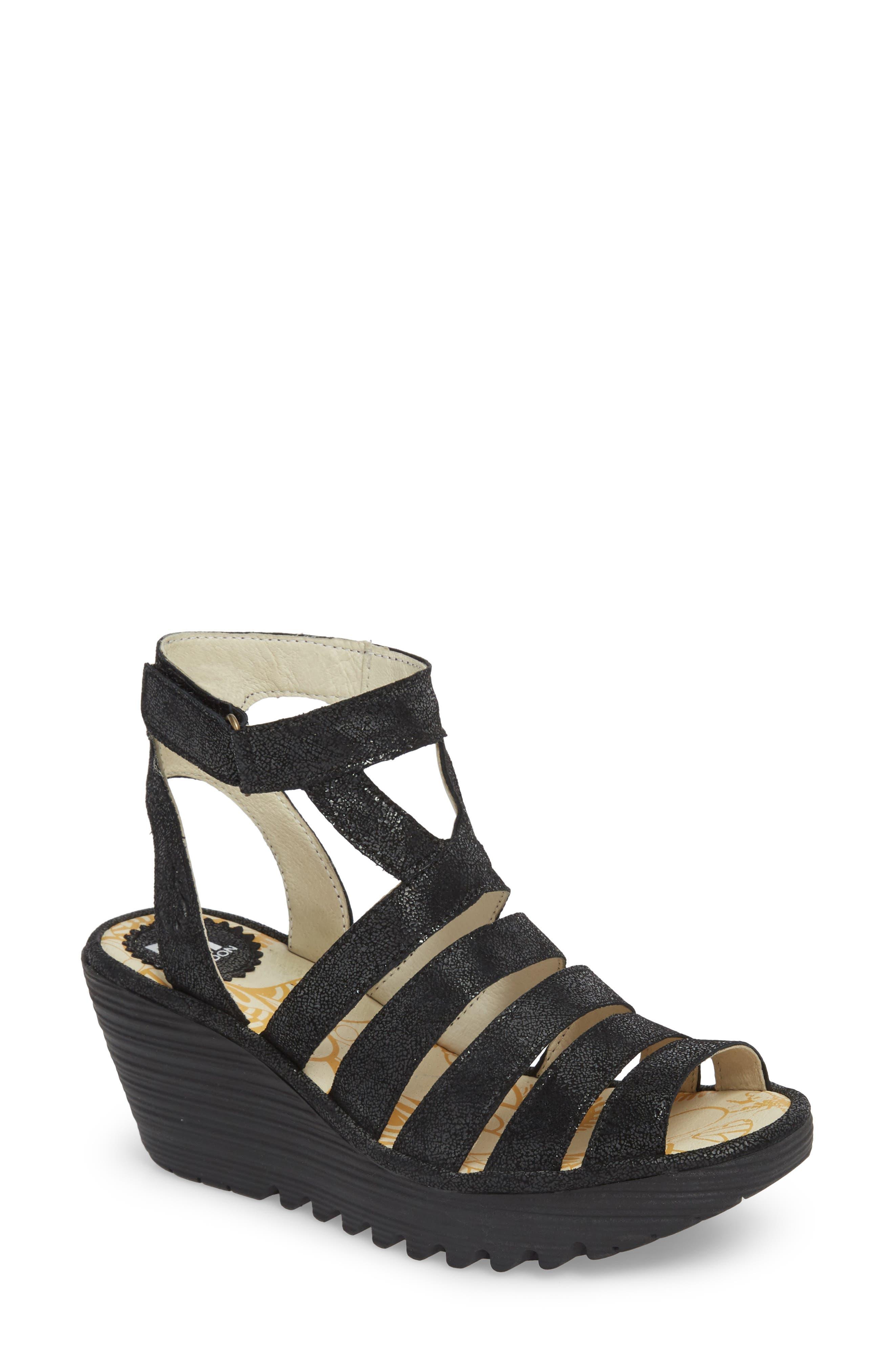 FLY LONDON Yeba Wedge Sandal, Main, color, BLACK LEATHER