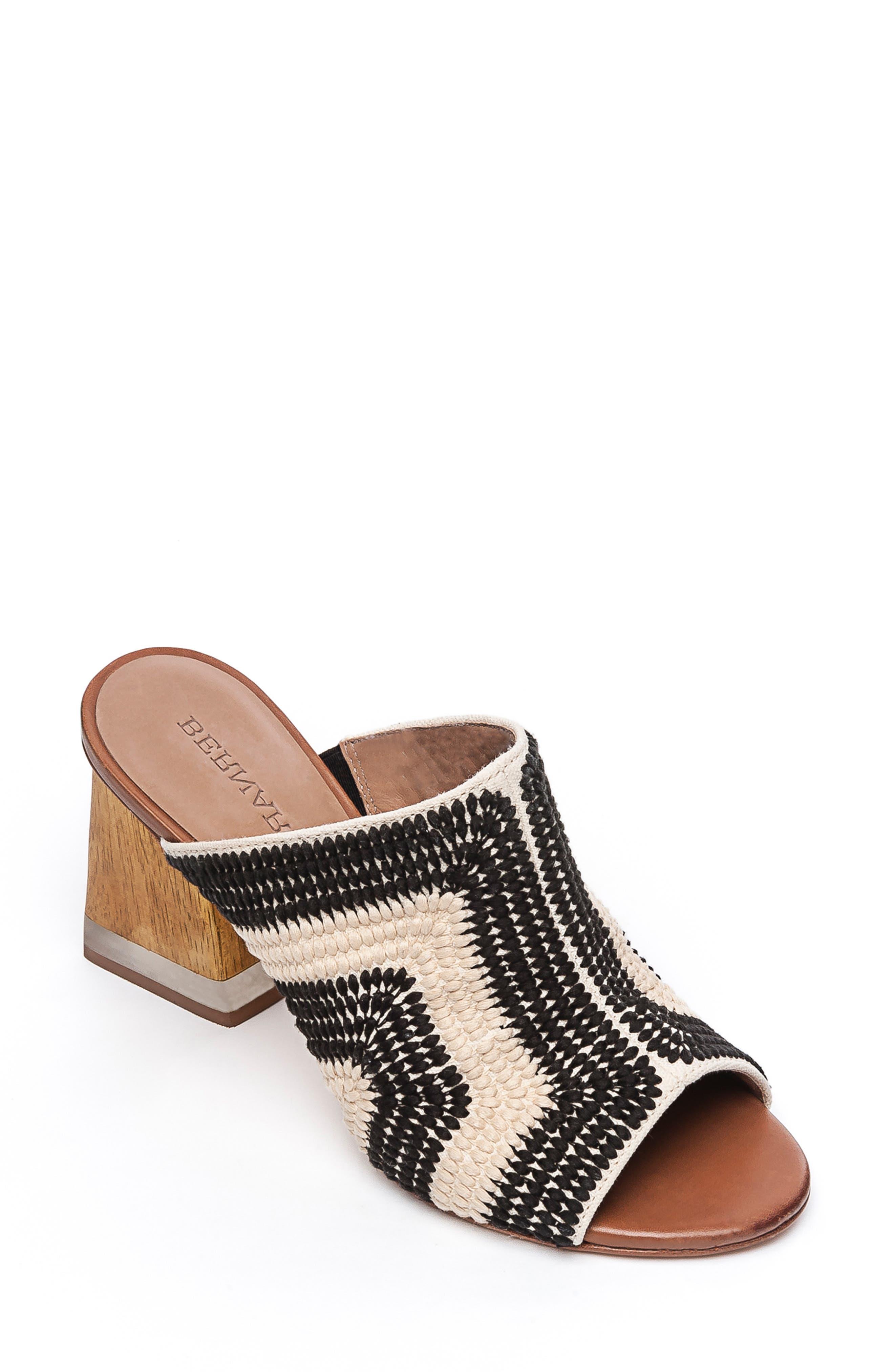 BERNARDO Noelle Slide Sandal, Main, color, BLACK/ CREAM CROCHET FABRIC