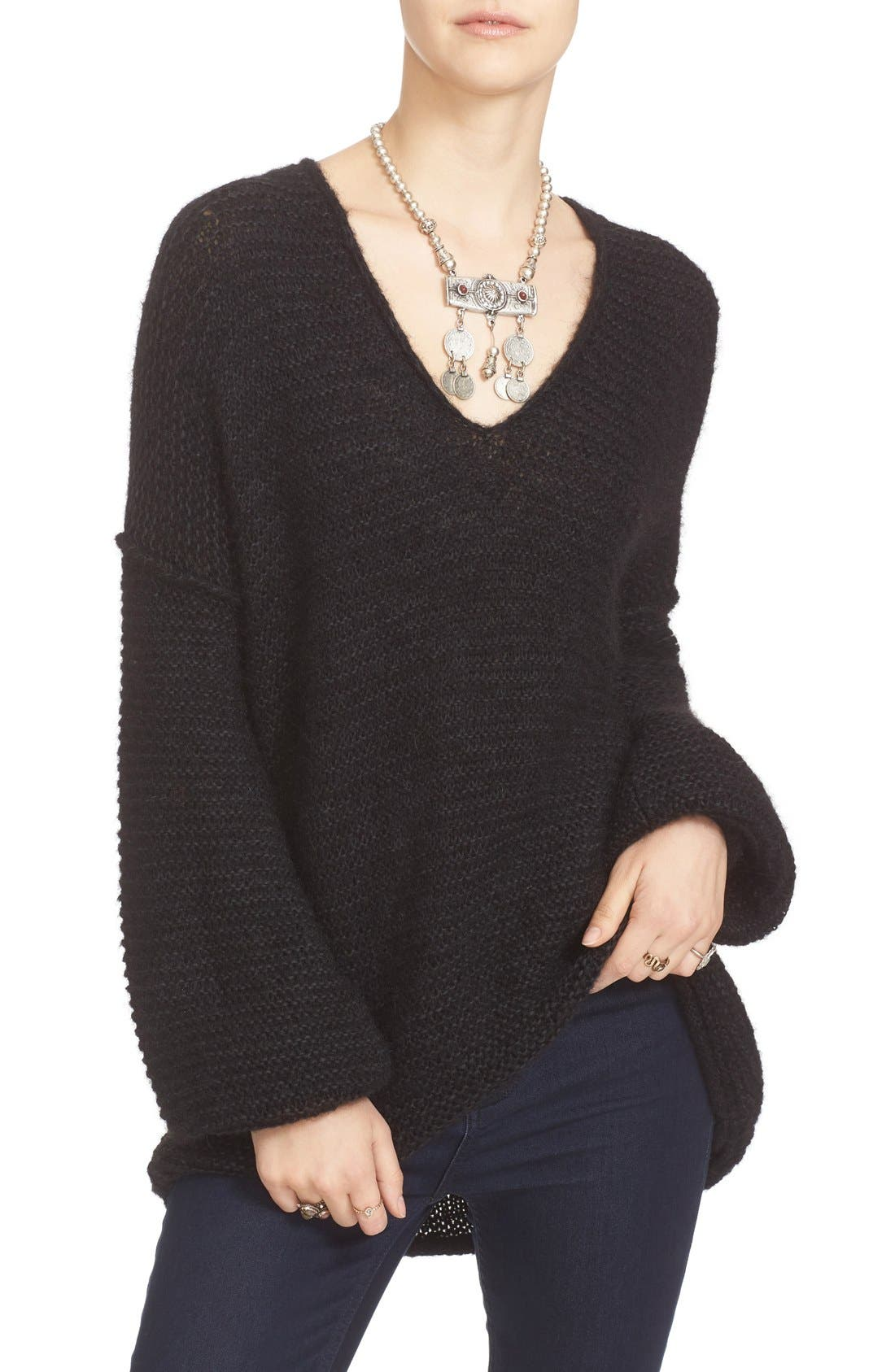 FREE PEOPLE, All Mine Sweater, Alternate thumbnail 6, color, 001