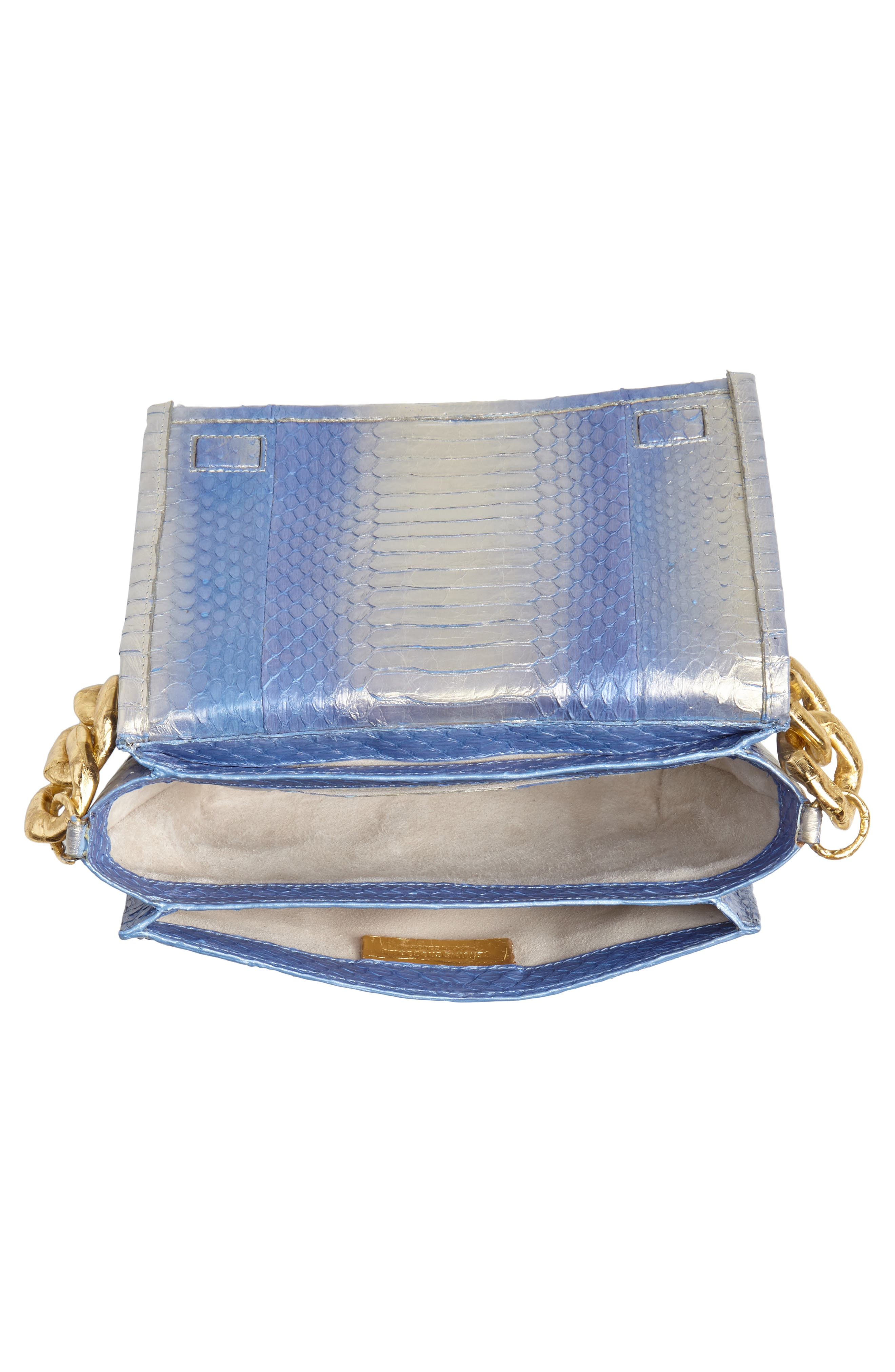 NANCY GONZALEZ, Small Carrie Genuine Crocodile Clutch, Alternate thumbnail 5, color, SILVER/ BLUE DEGRADE/ GOLD