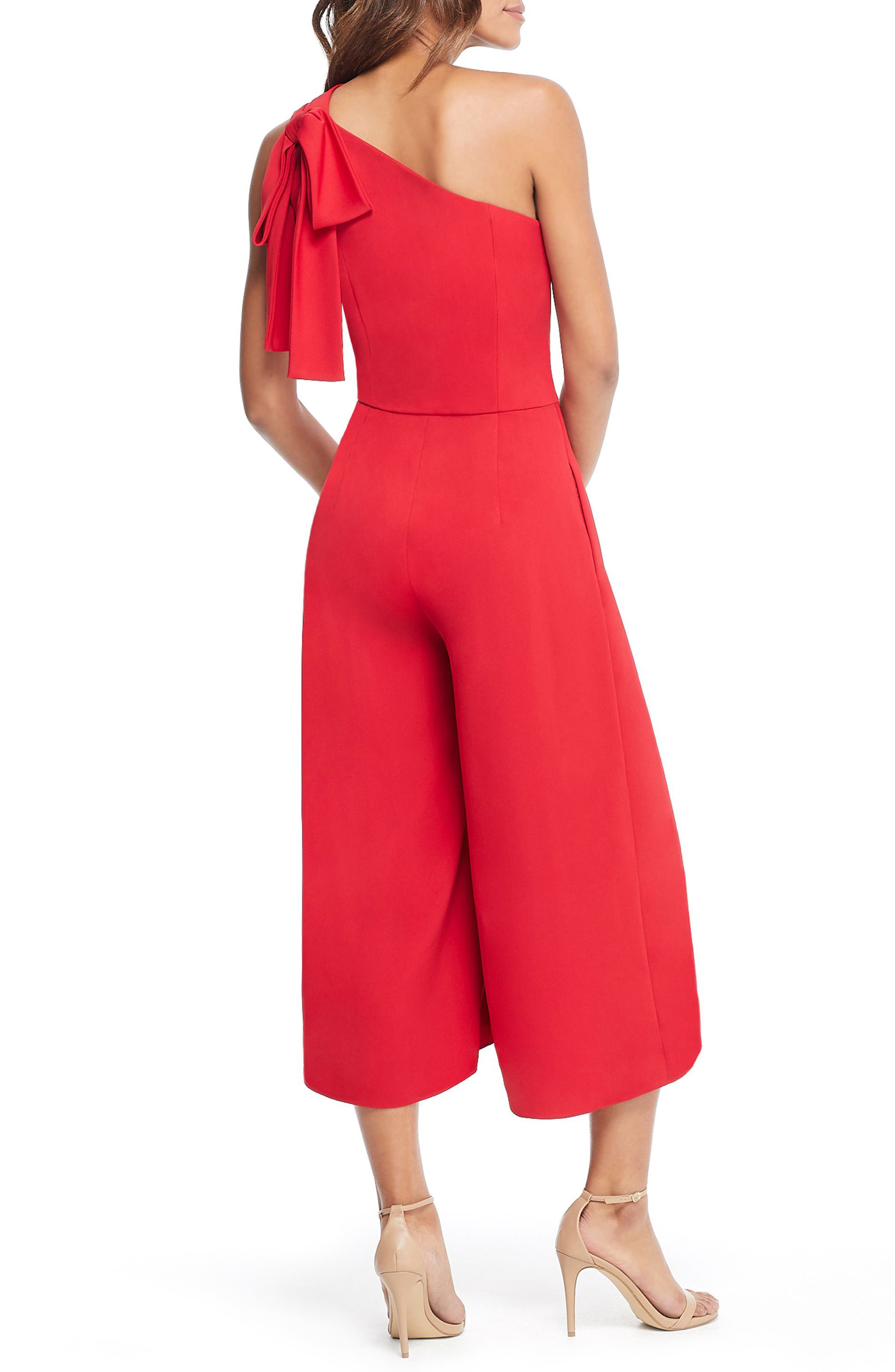 GAL MEETS GLAM COLLECTION, Carmen One-Shoulder Crepe Jumpsuit, Alternate thumbnail 2, color, 603