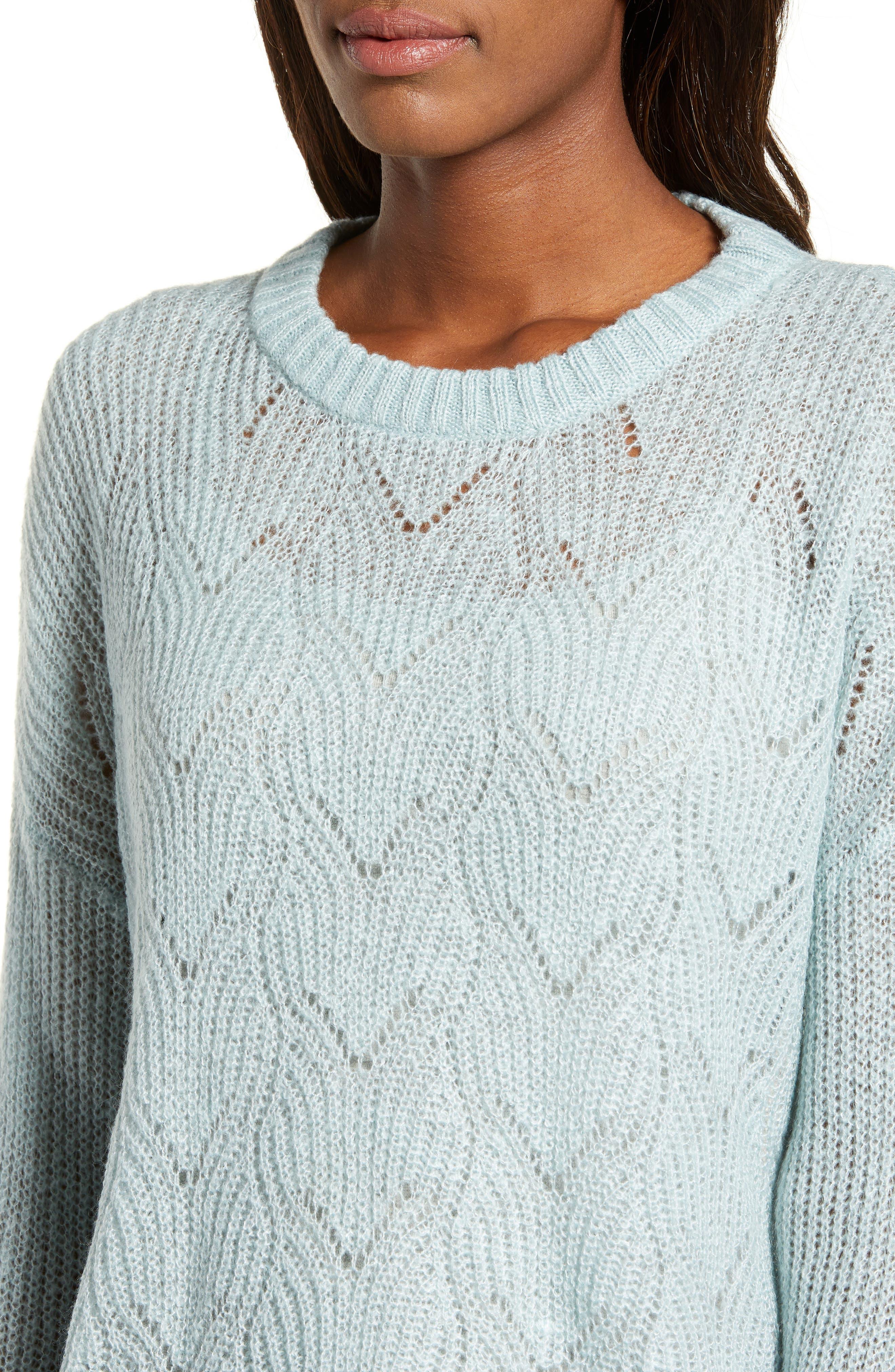 BP., Pointelle Stitch Sweater, Alternate thumbnail 5, color, BLUE CLOUD