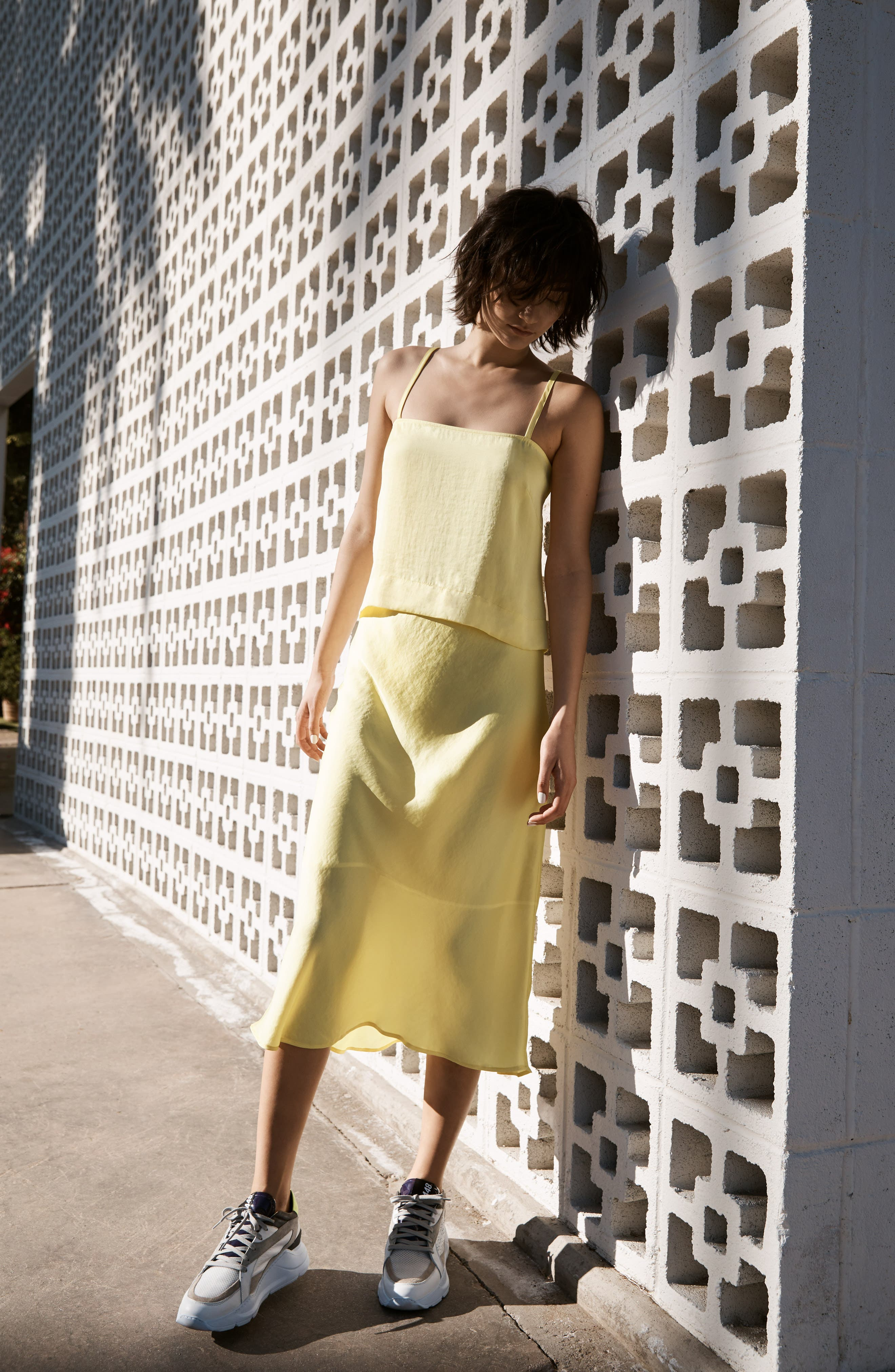 LEITH, Fluid Strappy Satin Camisole, Alternate thumbnail 7, color, YELLOW MERINGUE