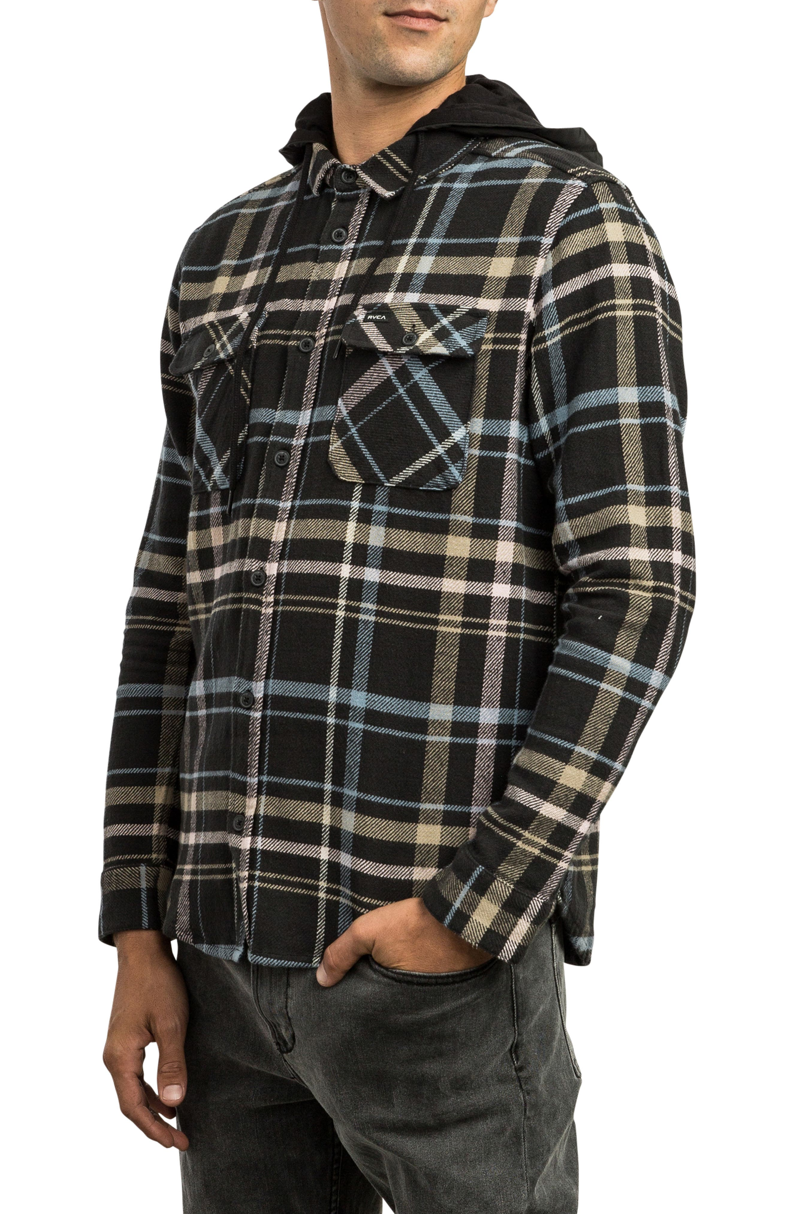 RVCA, Essex Hooded Flannel Shirt, Alternate thumbnail 4, color, RVCA BLACK