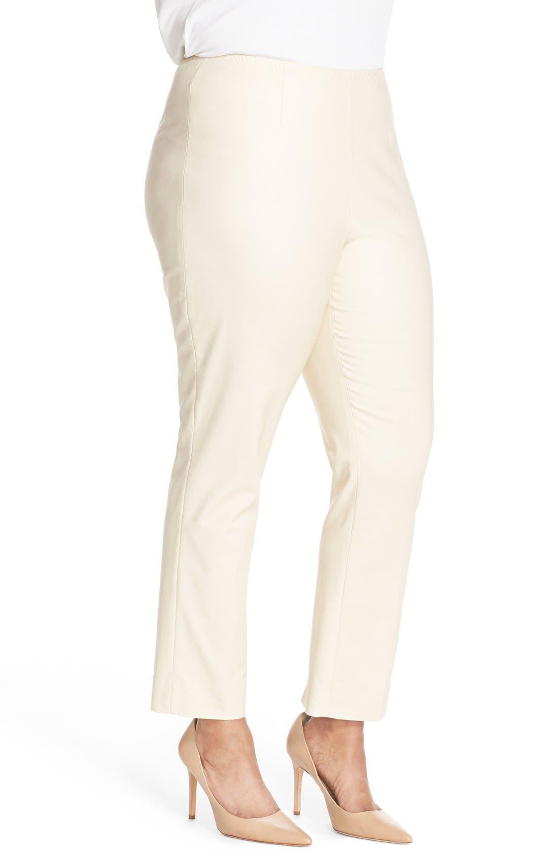 NIC+ZOE, 'Perfect' High Rise Side Zip Pants, Alternate thumbnail 3, color, SANDSHELL