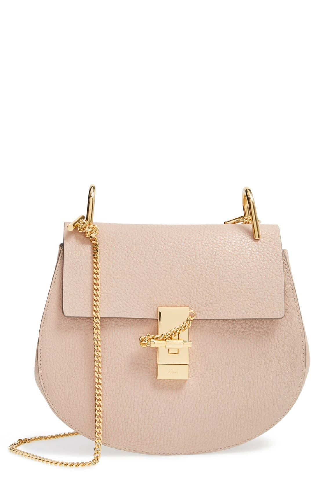 CHLOÉ, Drew Leather Shoulder Bag, Main thumbnail 1, color, 650
