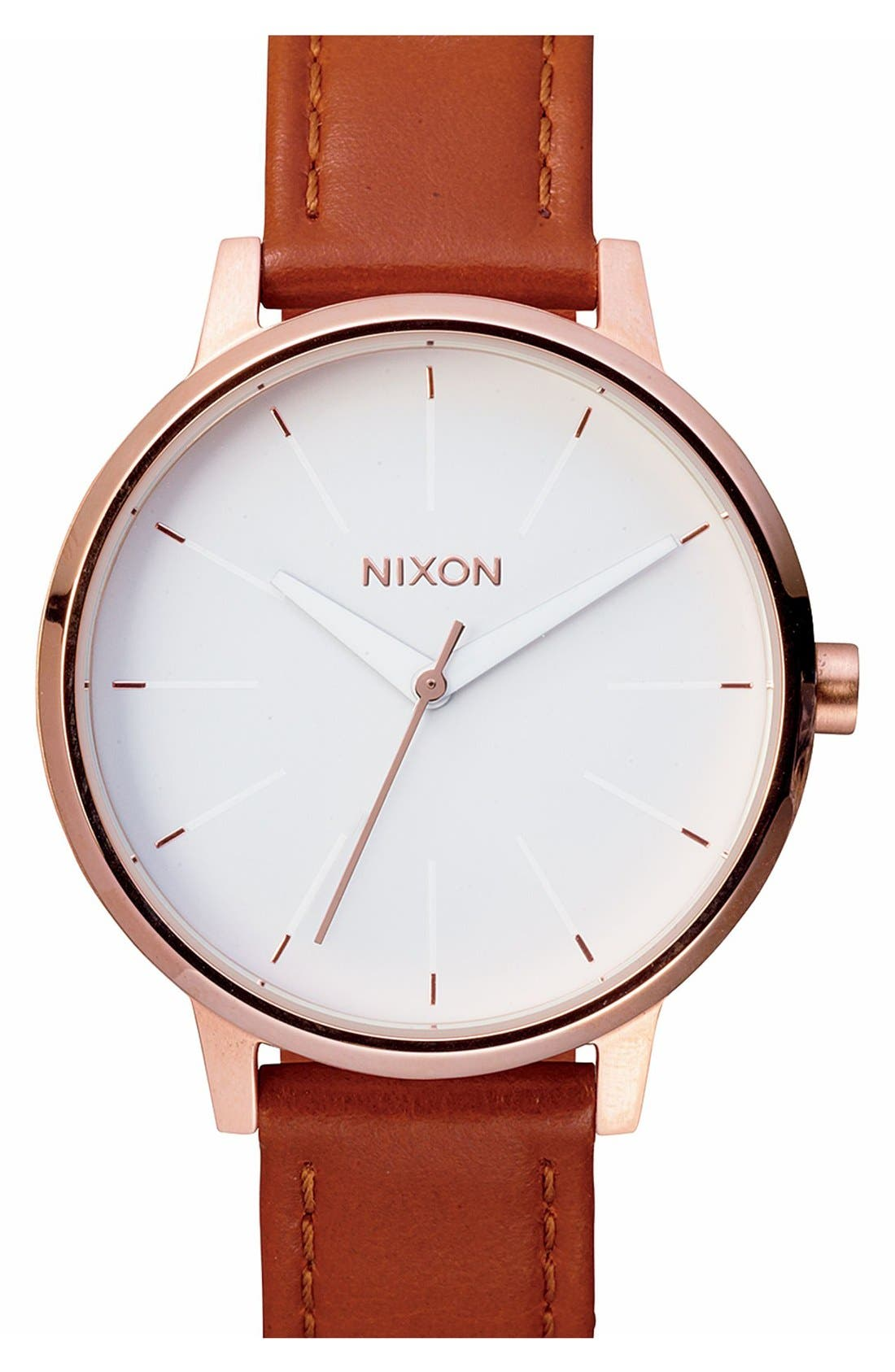 NIXON, 'The Kensington' Leather Strap Watch, 37mm, Main thumbnail 1, color, BROWN/ ROSE GOLD/ WHITE