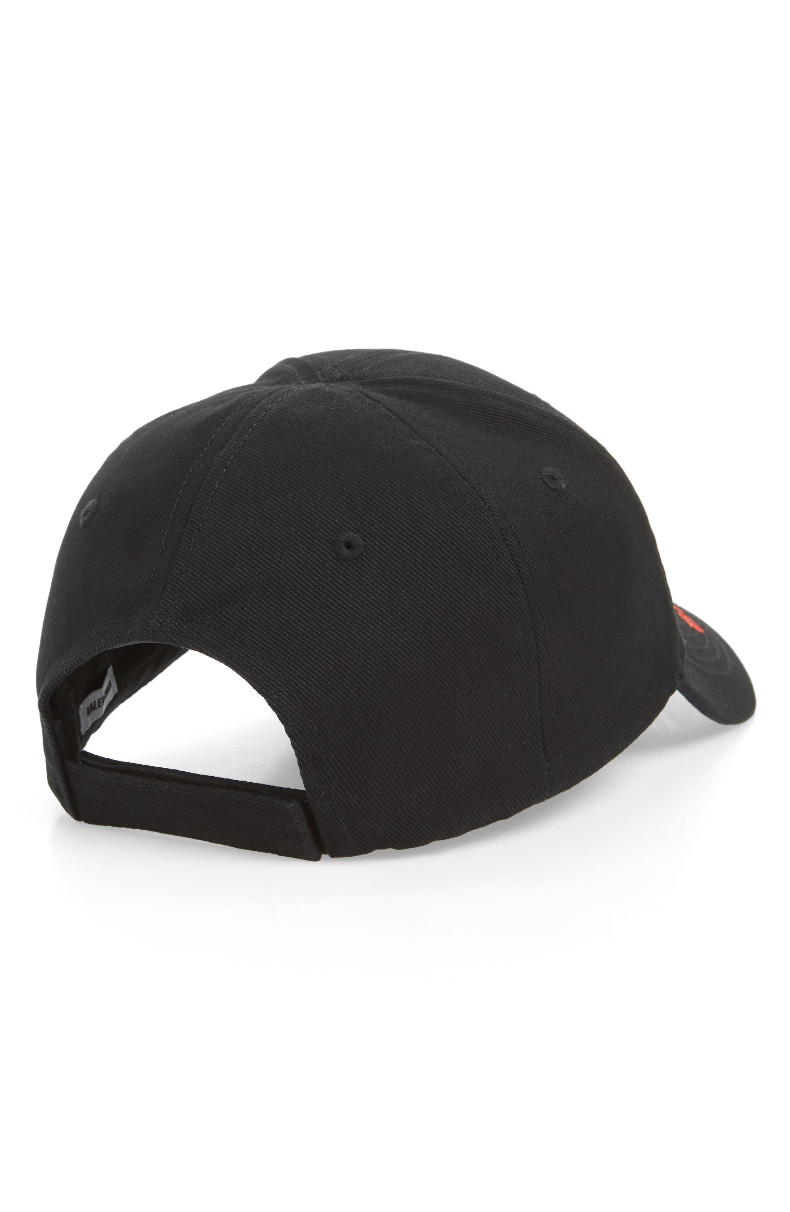 BALENCIAGA, Rainbow Logo Baseball Cap, Alternate thumbnail 2, color, 1000-BLACK