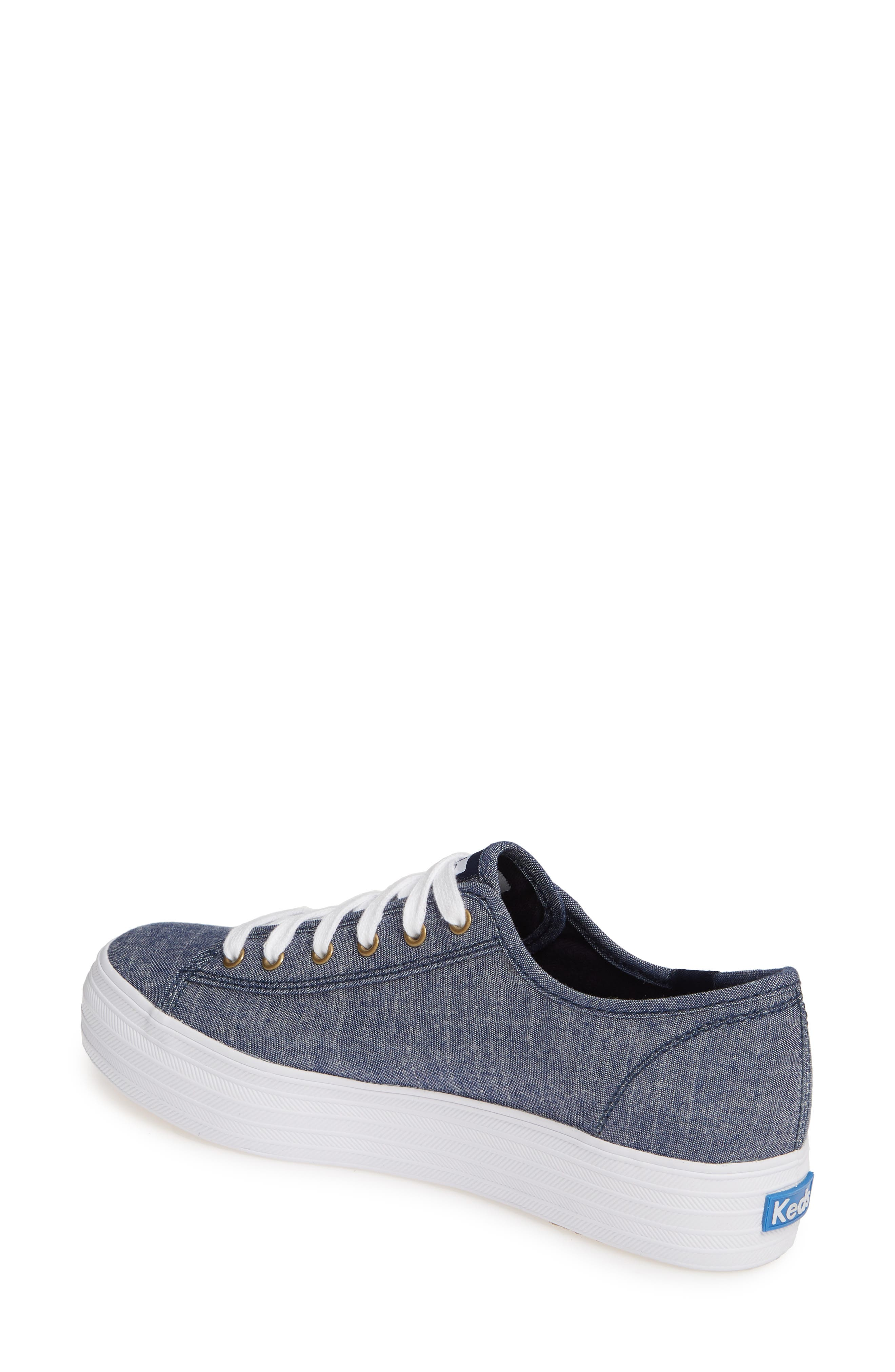 KEDS<SUP>®</SUP>, Triple Kick Platform Chambray Sneaker, Alternate thumbnail 2, color, BLUE