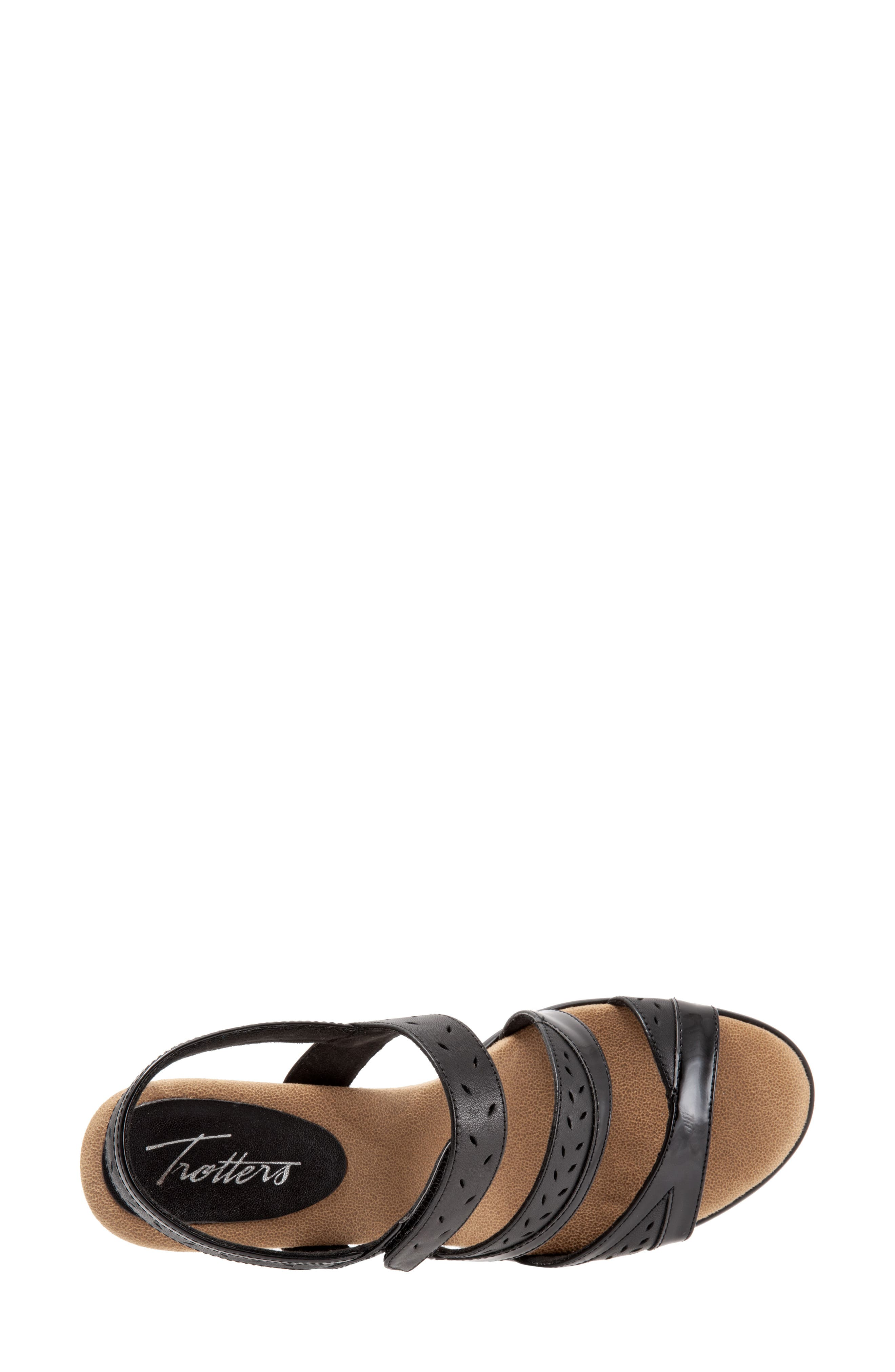 TROTTERS, Marvie Perforated Strappy Sandal, Alternate thumbnail 5, color, BLACK LEATHER