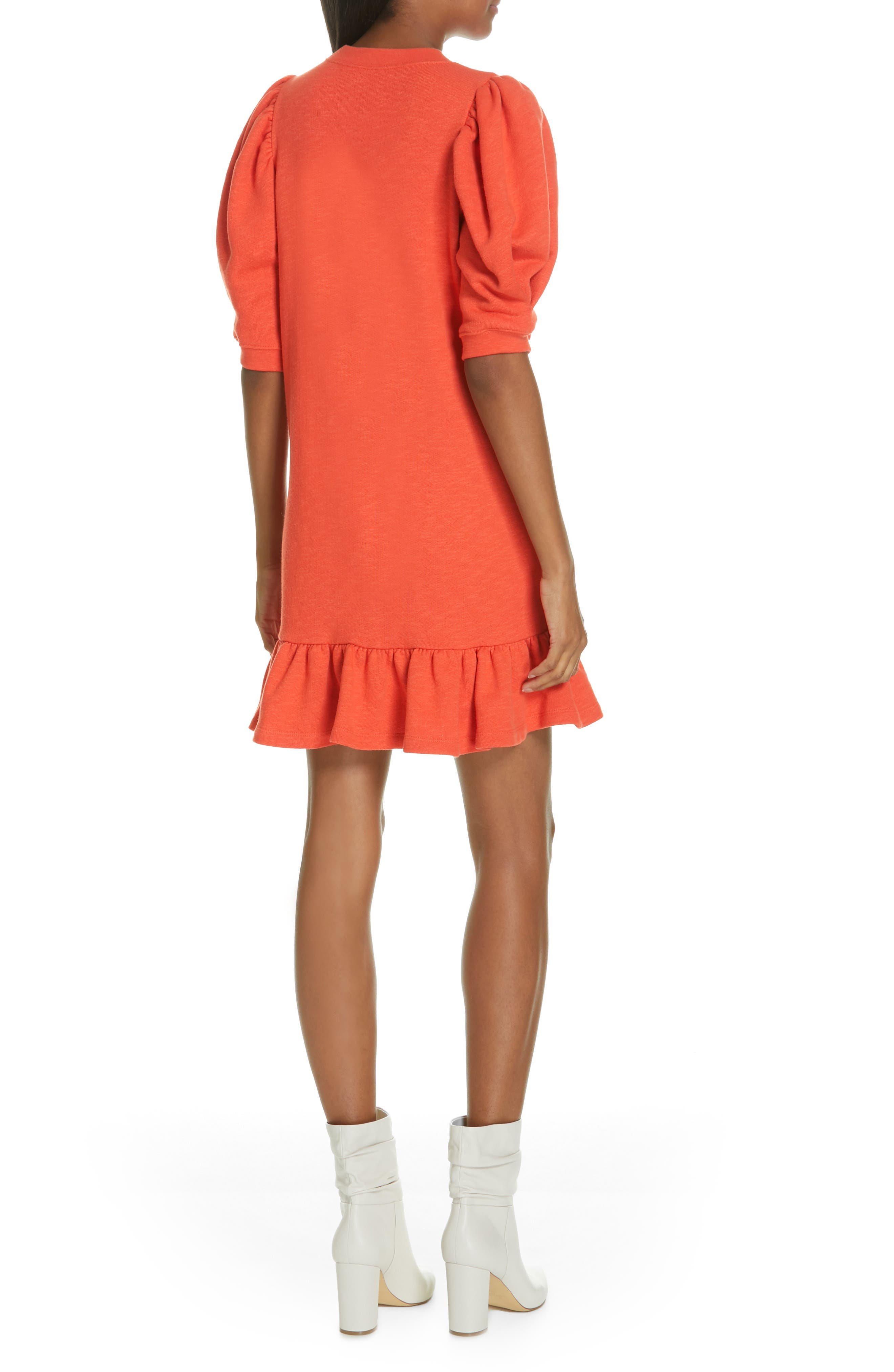 ULLA JOHNSON, Landry Puff Sleeve Sweatshirt Dress, Alternate thumbnail 2, color, CHILI