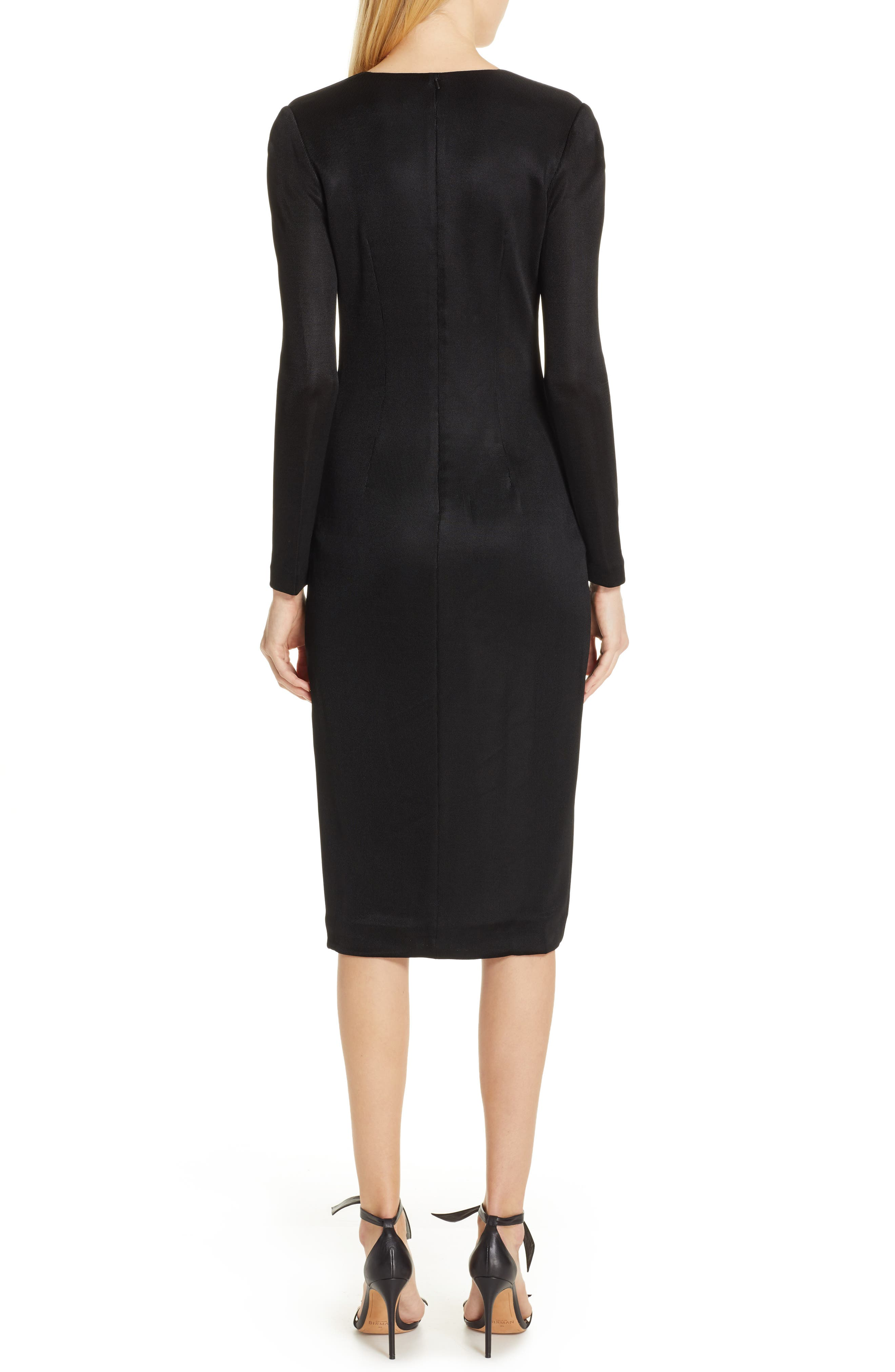 CUSHNIE, Sahara Pencil Dress, Alternate thumbnail 2, color, BLACK