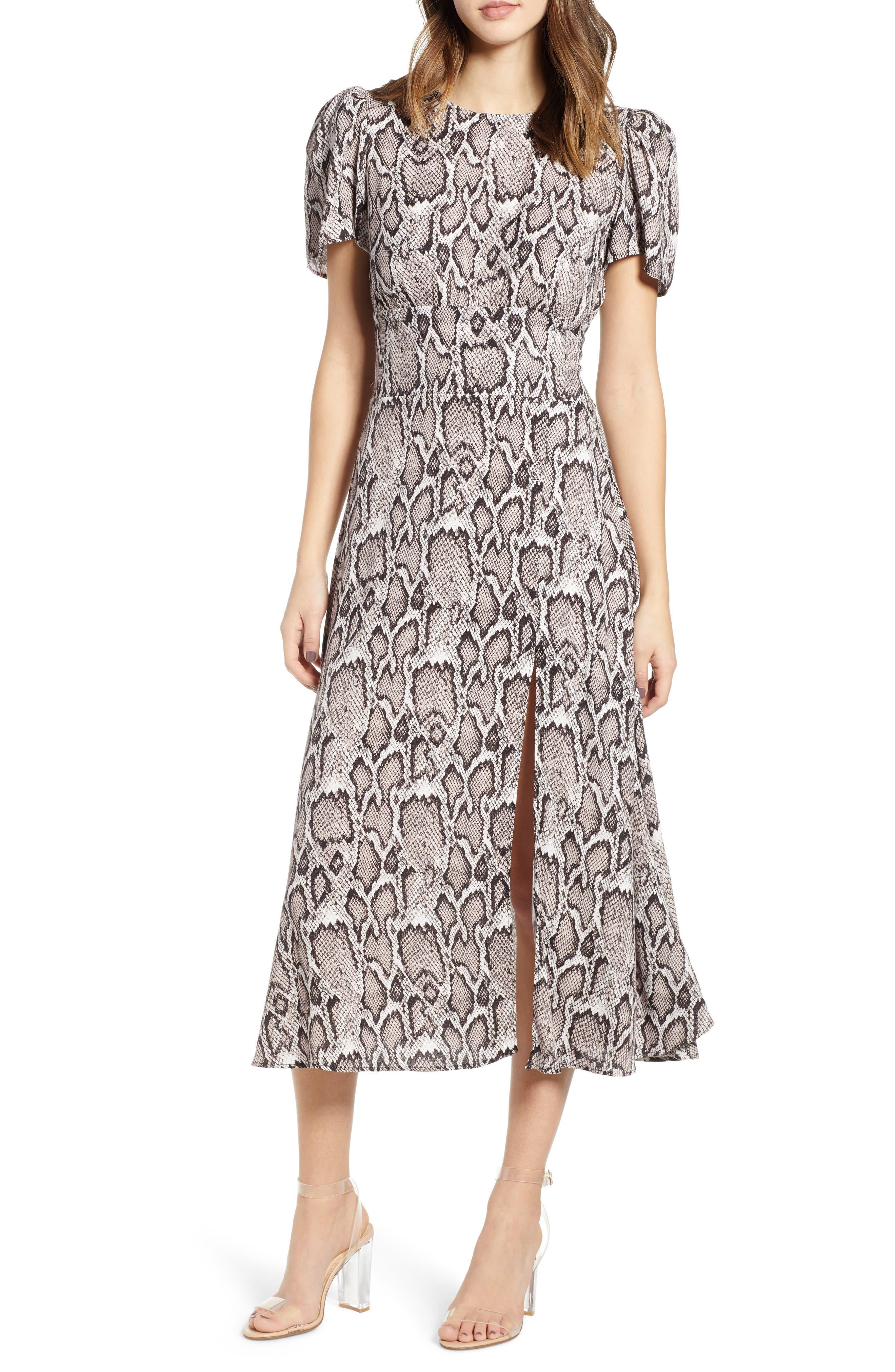 AFRM, Lala Midi Dress, Main thumbnail 1, color, SNAKESKIN