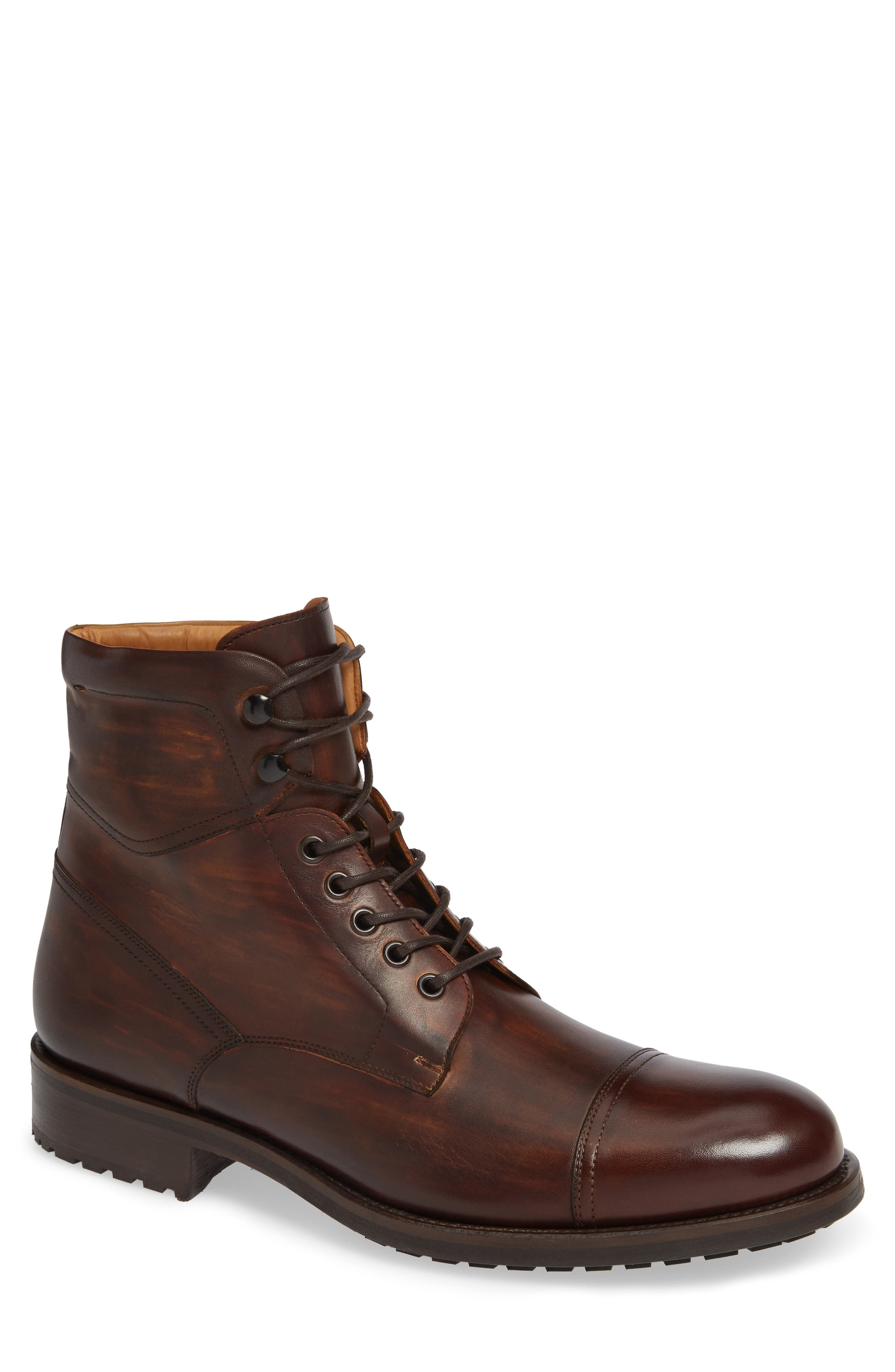 MAGNANNI Peyton Cap Toe Boot, Main, color, TOBACCO LEATHER