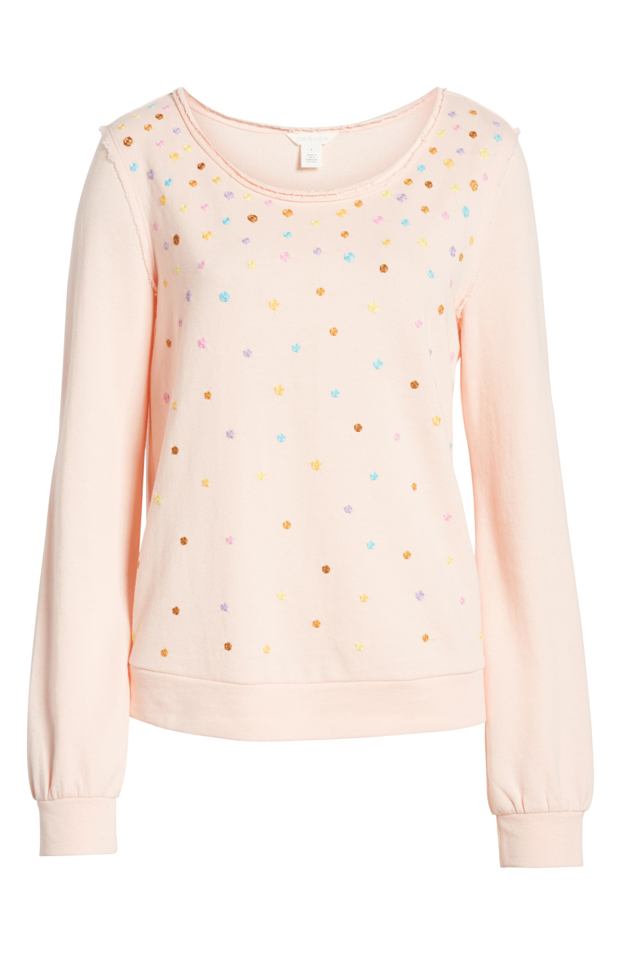CASLON<SUP>®</SUP>, Embroidered Sweatshirt, Alternate thumbnail 6, color, PINK C EMBROIDERED