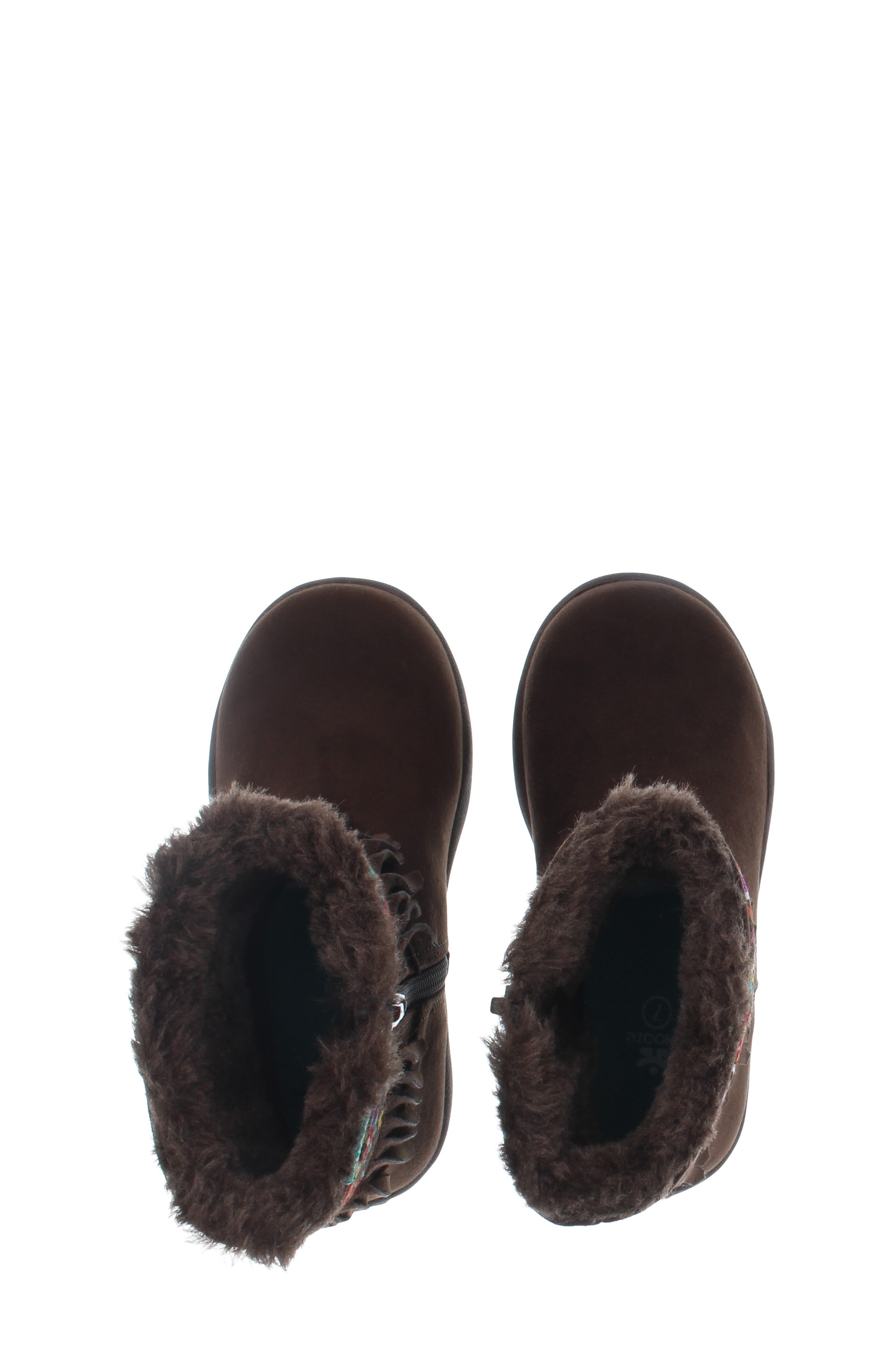 CHOOZE, Faux Fur Fringed Hope Bootie, Alternate thumbnail 5, color, BROWN