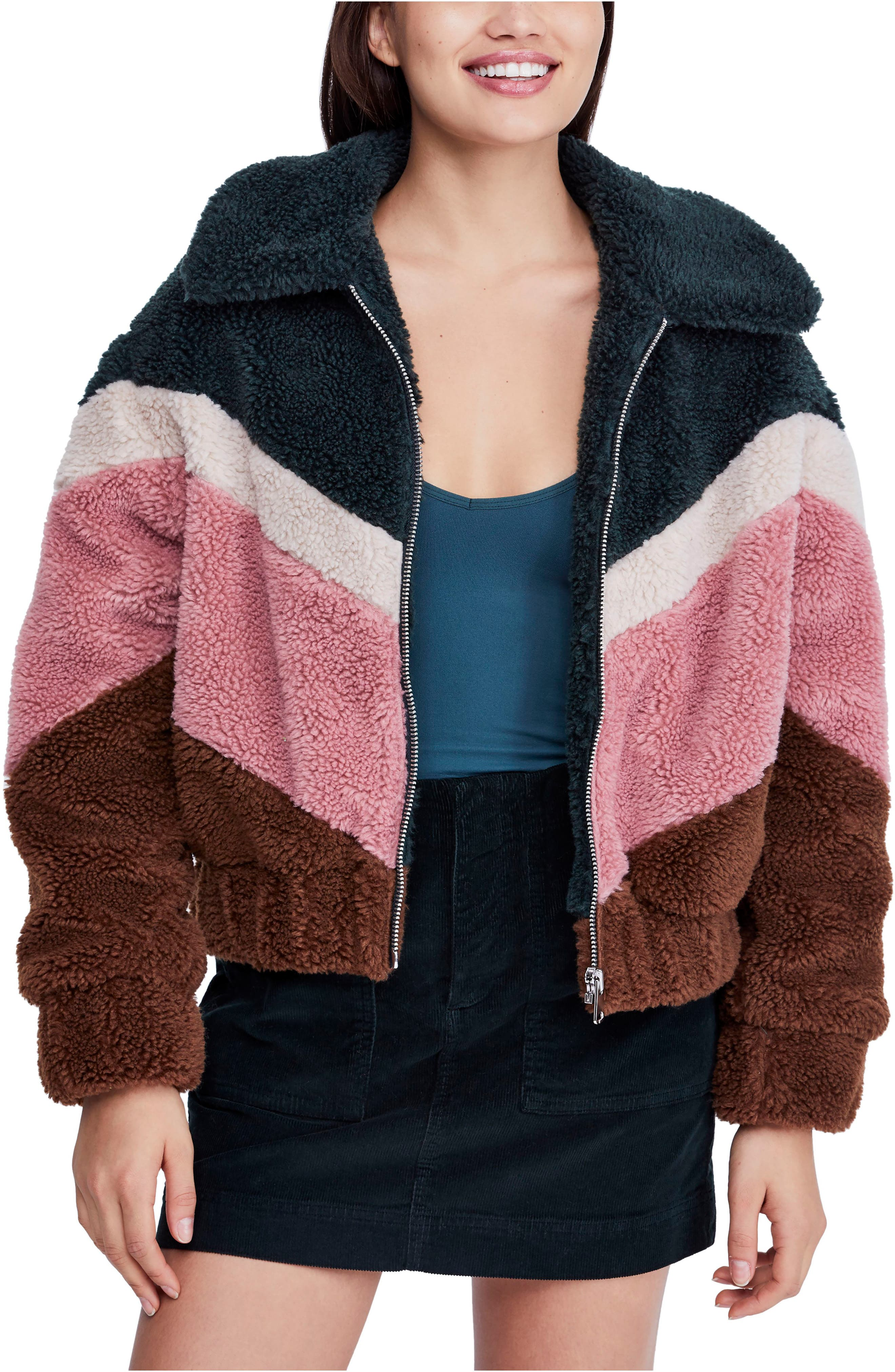 BDG, Urban Outfitters Chevron Teddy Coat, Main thumbnail 1, color, 650