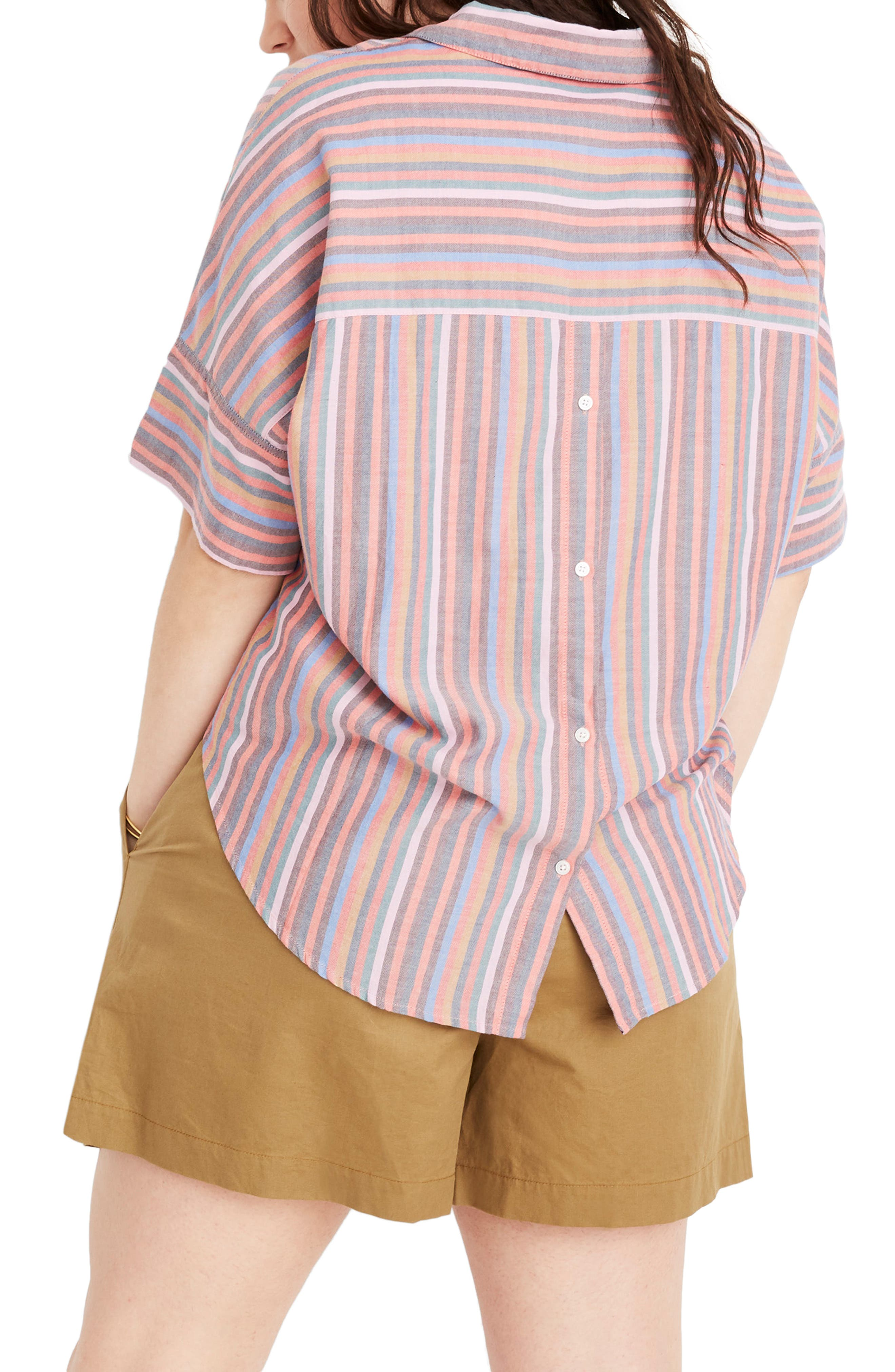 MADEWELL, Courier Rainbow Stripe Button Back Shirt, Alternate thumbnail 6, color, MULLED WINE SMITH STRIPE