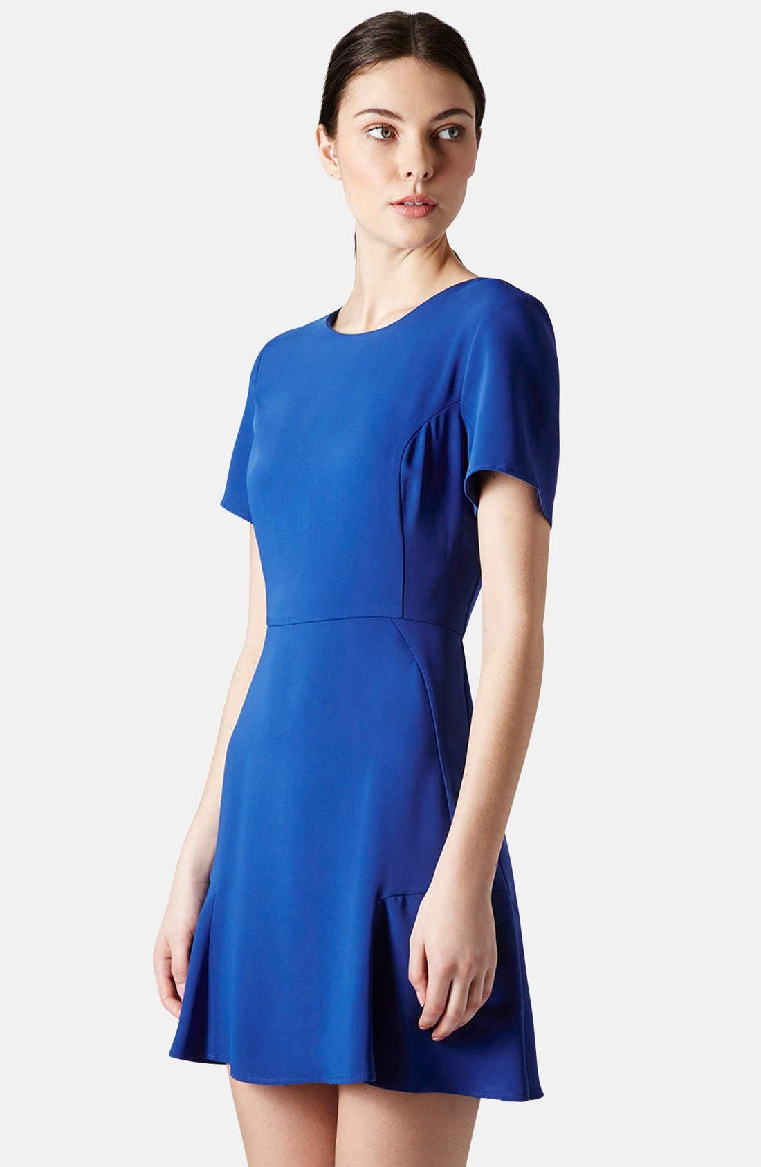 TOPSHOP, Crepe Fit & Flare Dress, Main thumbnail 1, color, 430