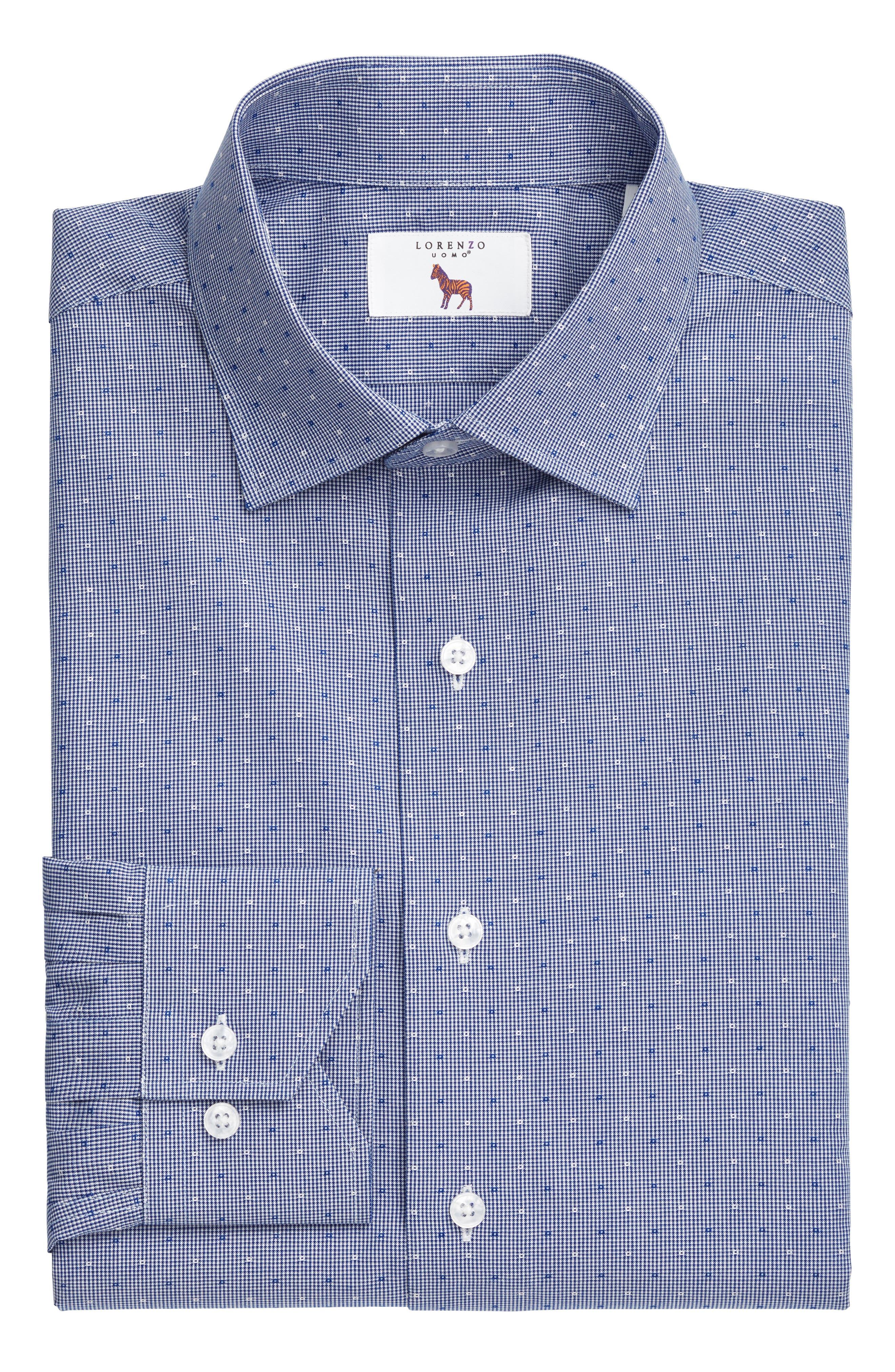 LORENZO UOMO, Trim Fit Check Dress Shirt, Alternate thumbnail 3, color, NAVY