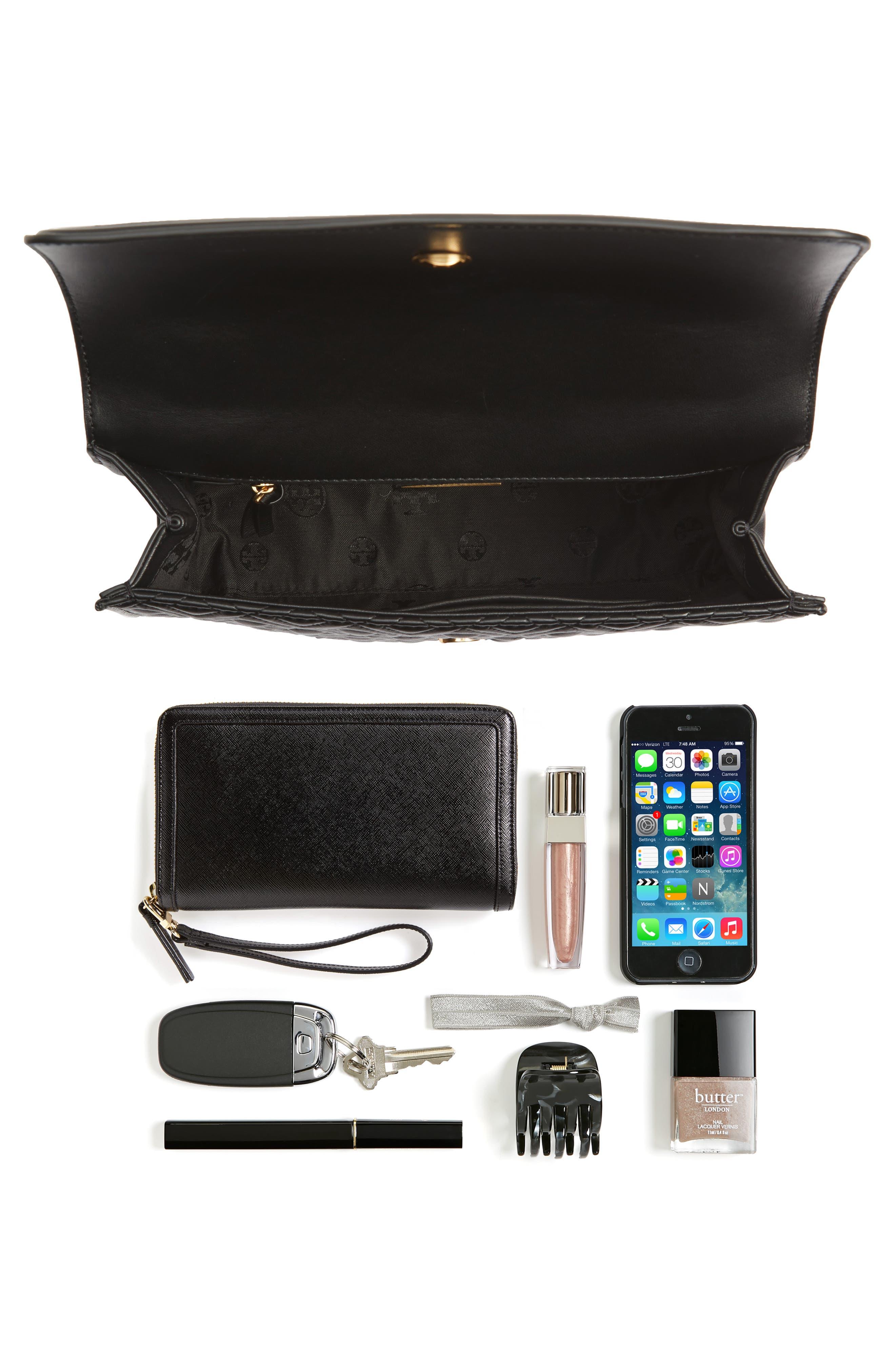 TORY BURCH, Fleming Leather Convertible Shoulder Bag, Alternate thumbnail 8, color, BLACK