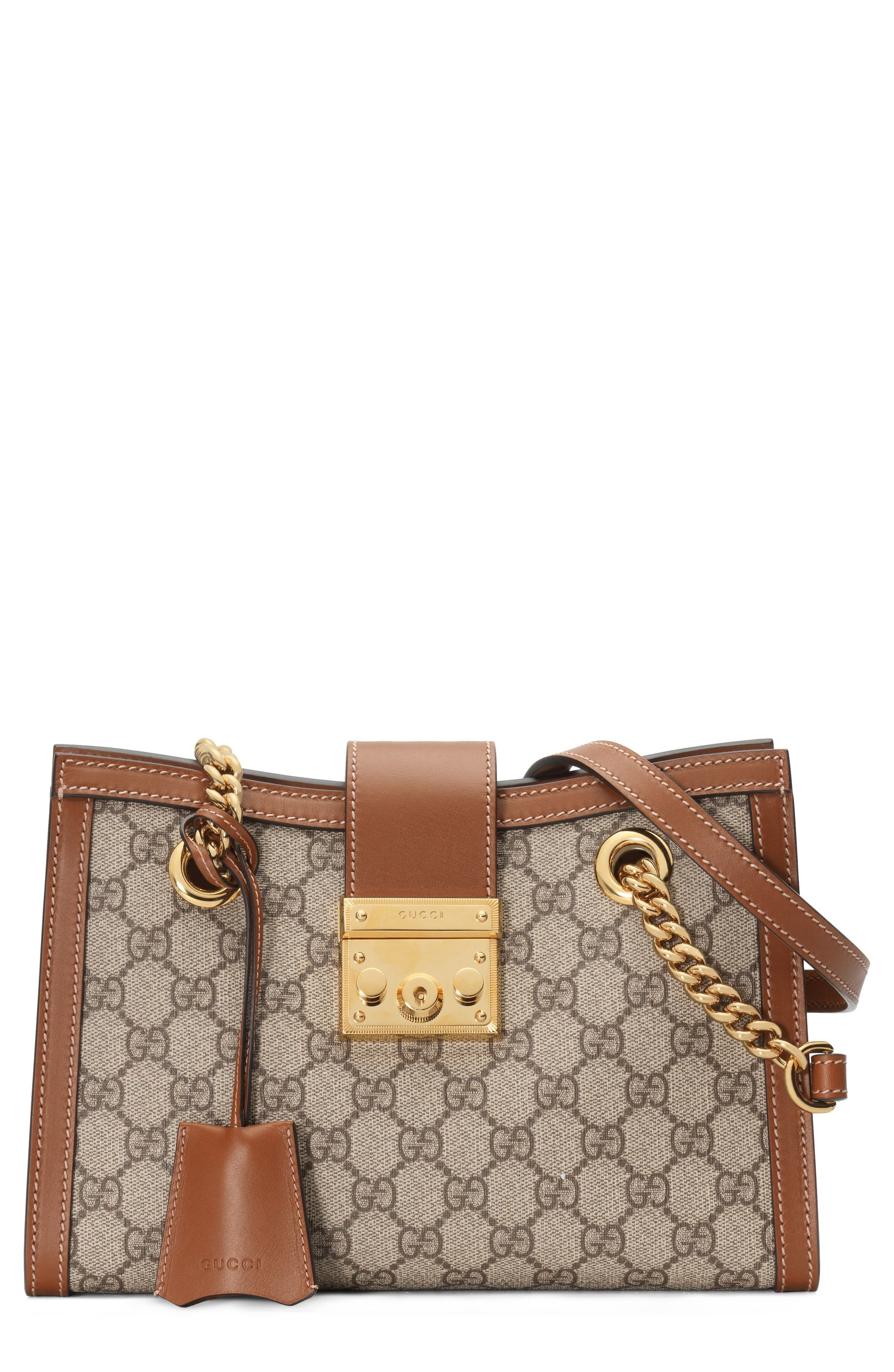 GUCCI, Small Padlock GG Supreme Shoulder Bag, Main thumbnail 1, color, BEIGE EBONY/ TUSCANY