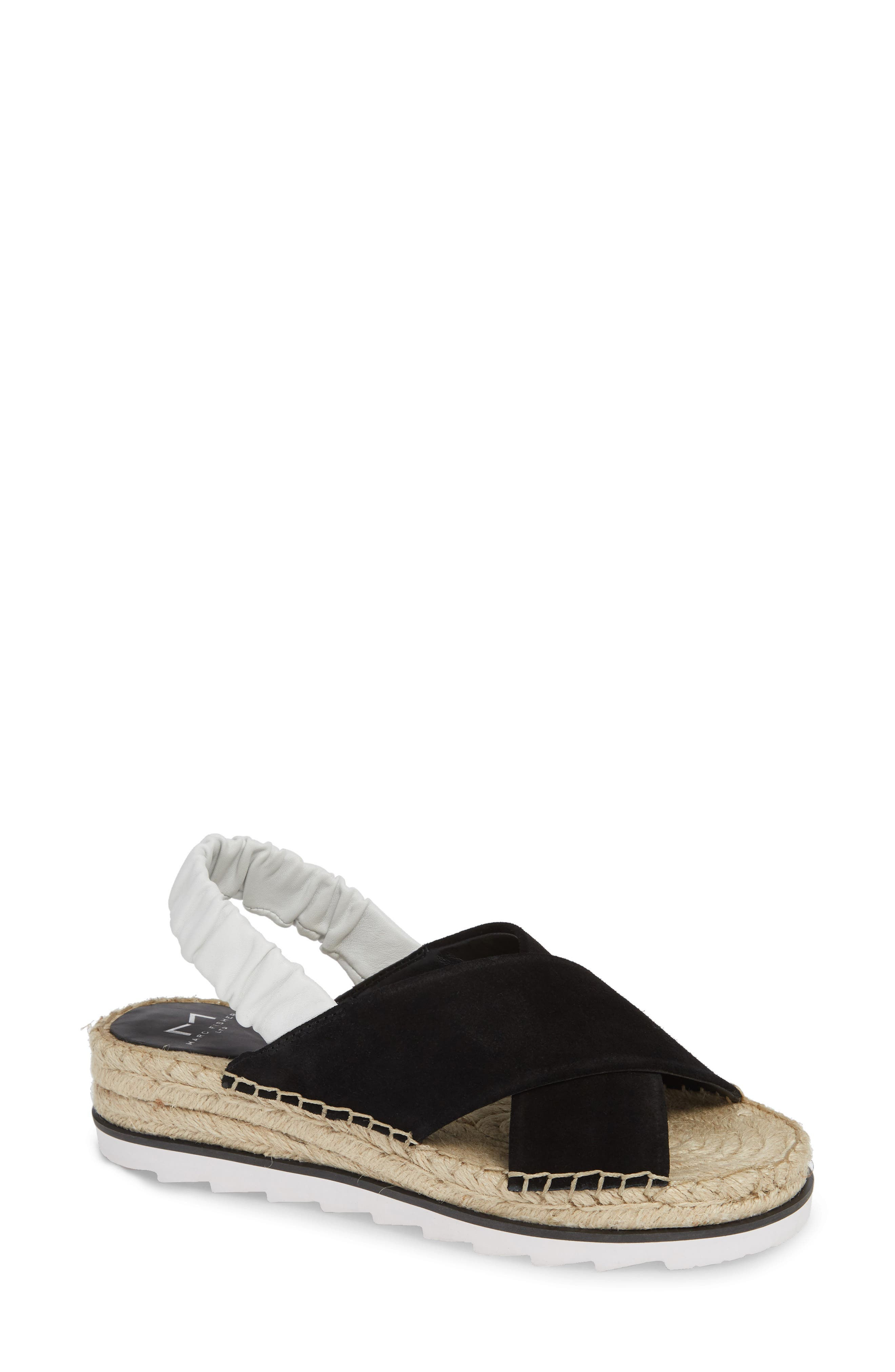 MARC FISHER LTD Pella Sandal, Main, color, BLACK SUEDE