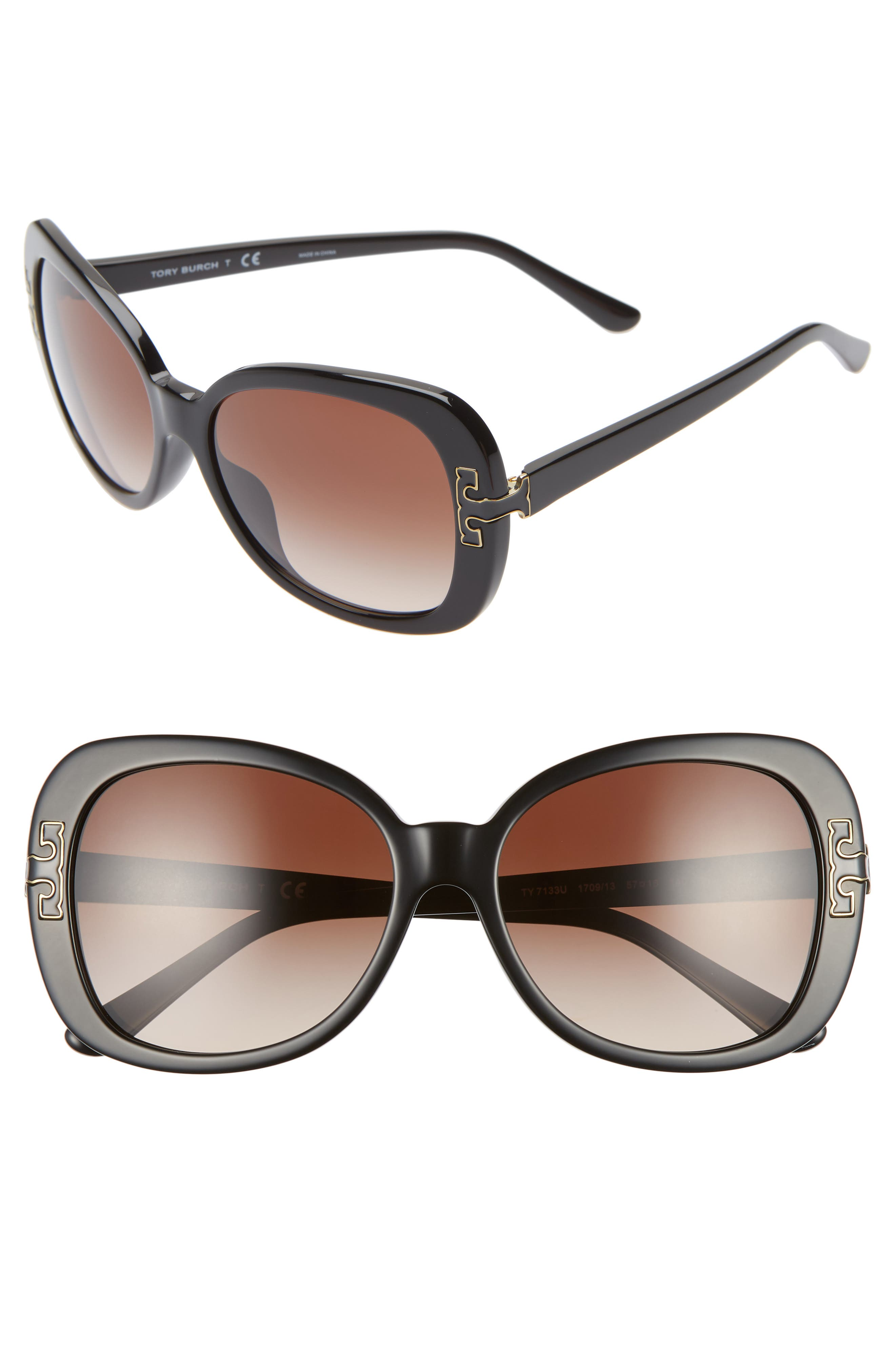 TORY BURCH 57mm Logo T Square Sunglasses, Main, color, BLACK GRADIENT