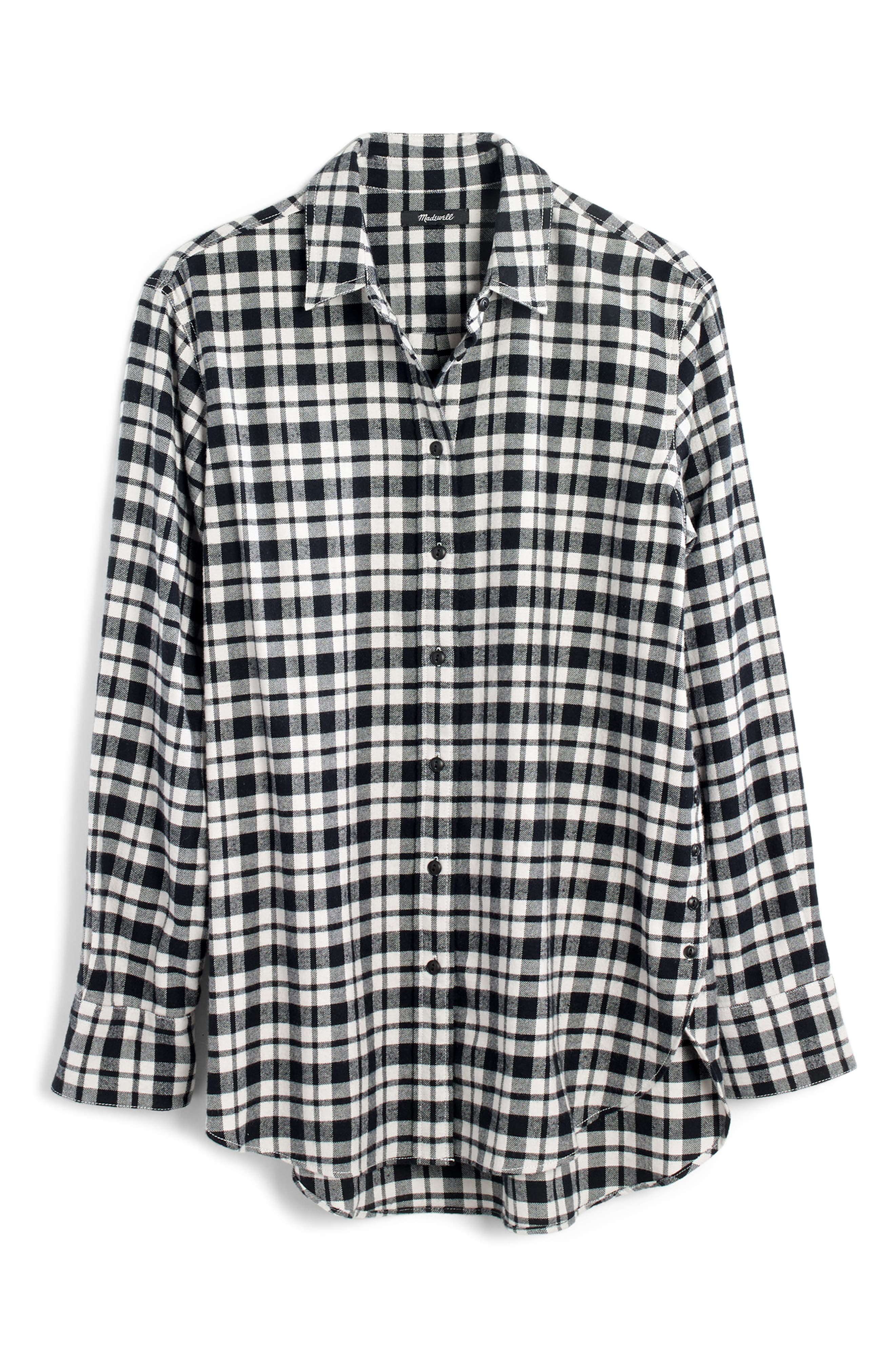 MADEWELL, Oversize Flannel Shirt, Alternate thumbnail 6, color, 002