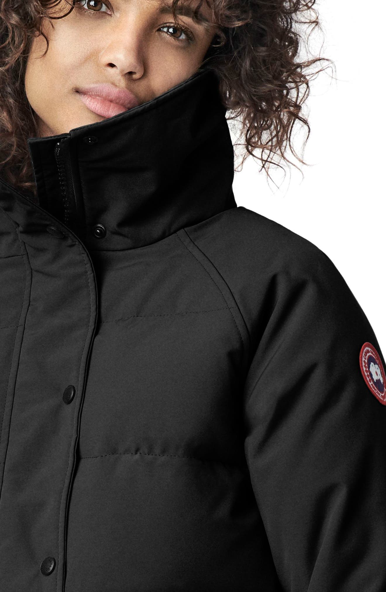 CANADA GOOSE, Deep Cove Arctic Tech Water Resistant 625 Fill Power Down Bomber Jacket, Alternate thumbnail 4, color, BLACK