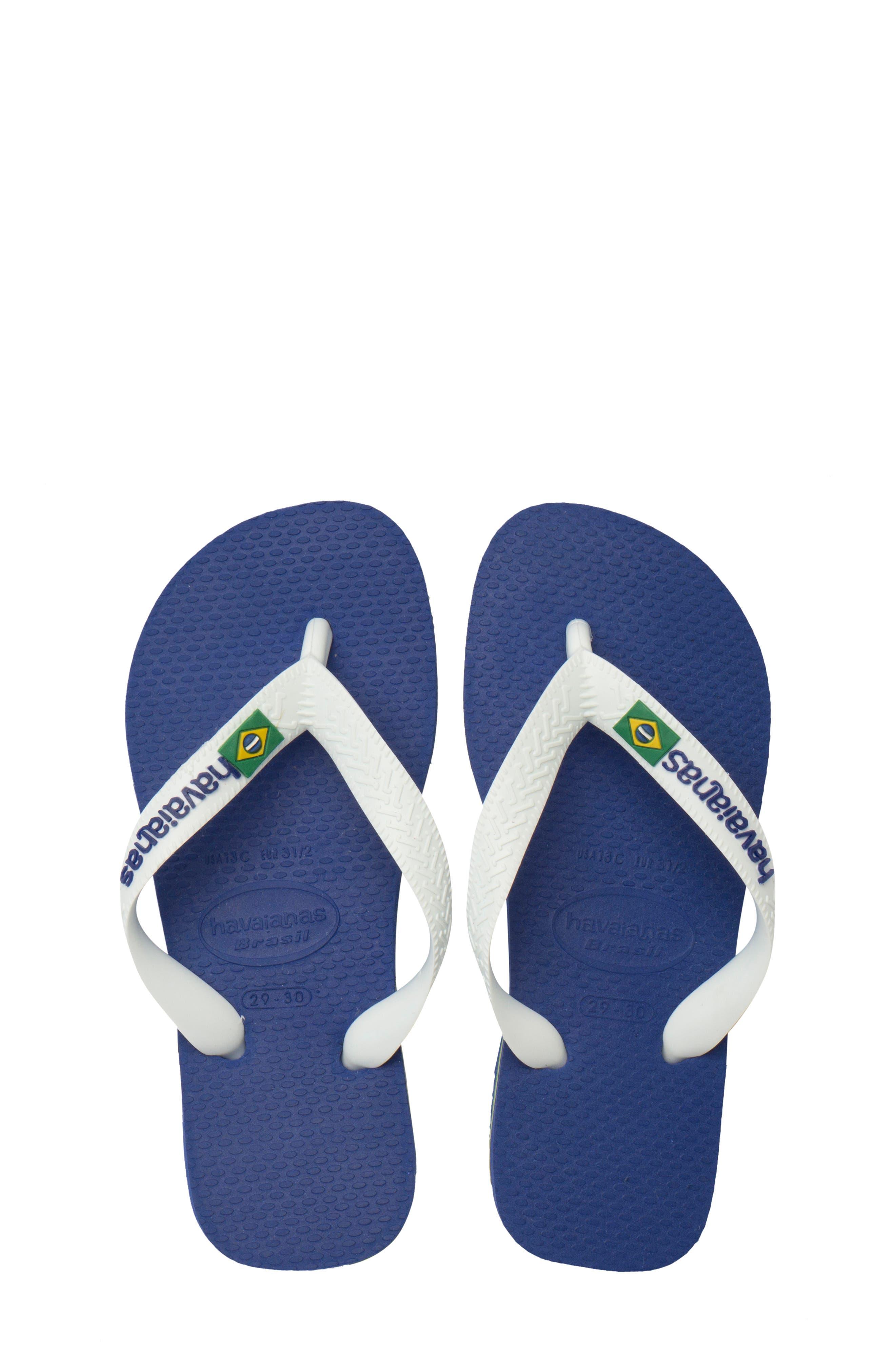 HAVAIANAS, 'Brazil Logo' Flip Flop, Alternate thumbnail 2, color, BLUE
