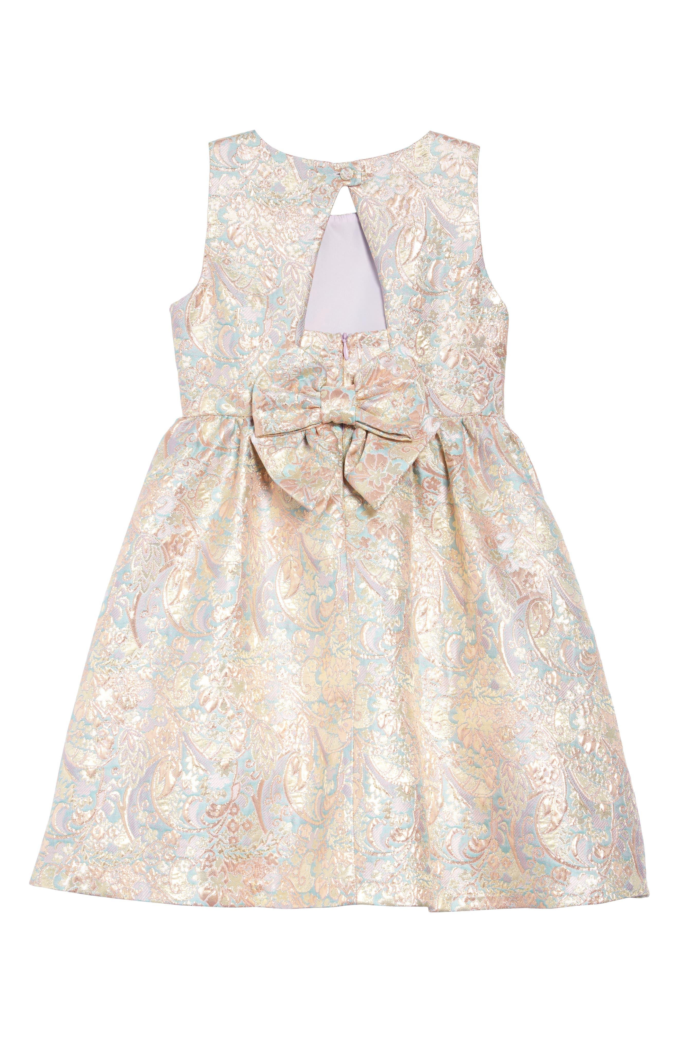 IRIS & IVY, Paisley Jacquard Bow Back Dress, Alternate thumbnail 2, color, BLUSH