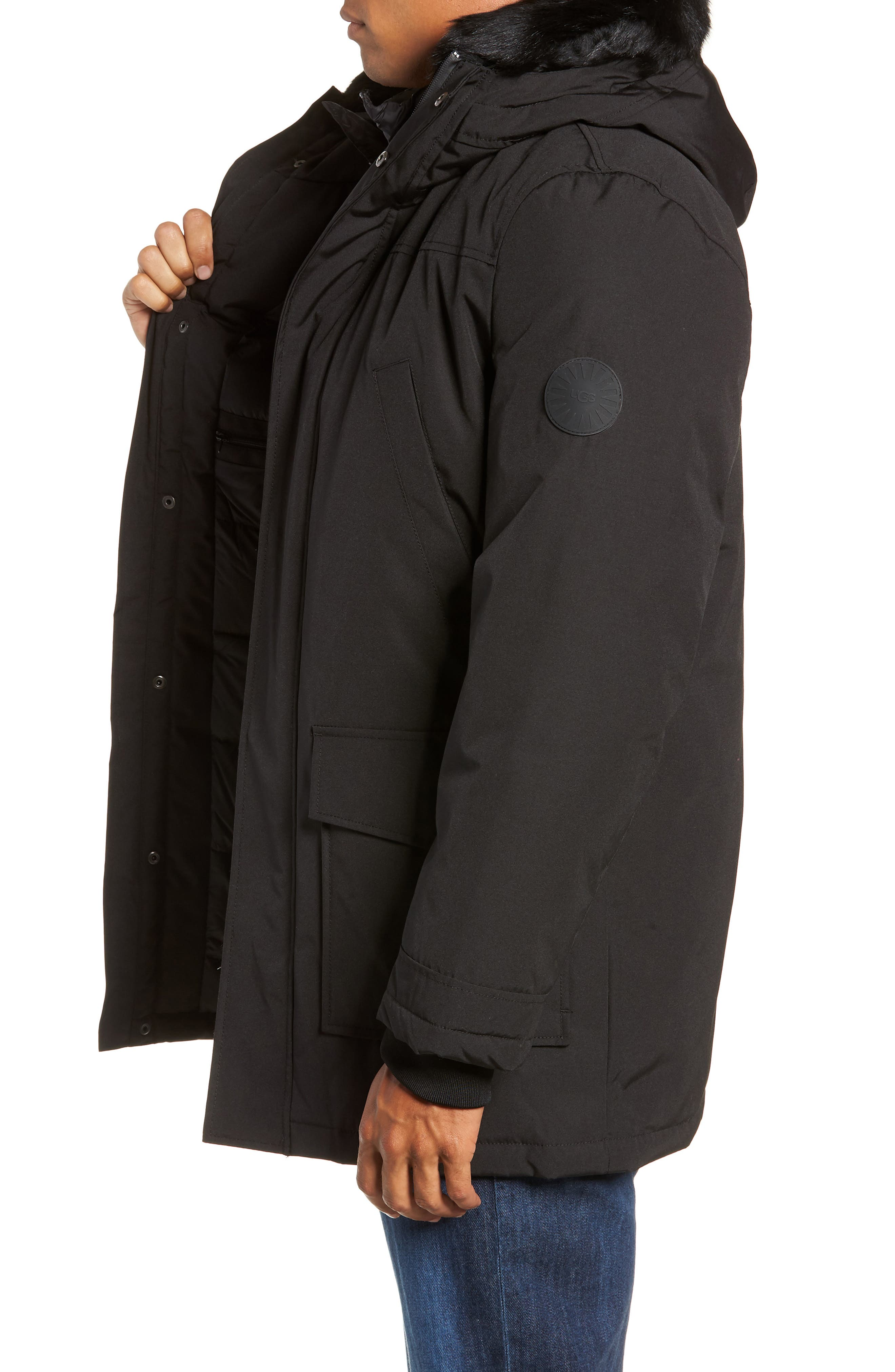 UGG<SUP>®</SUP>, Butte Water-Resistant Down Parka with Genuine Shearling Trim, Alternate thumbnail 5, color, 001