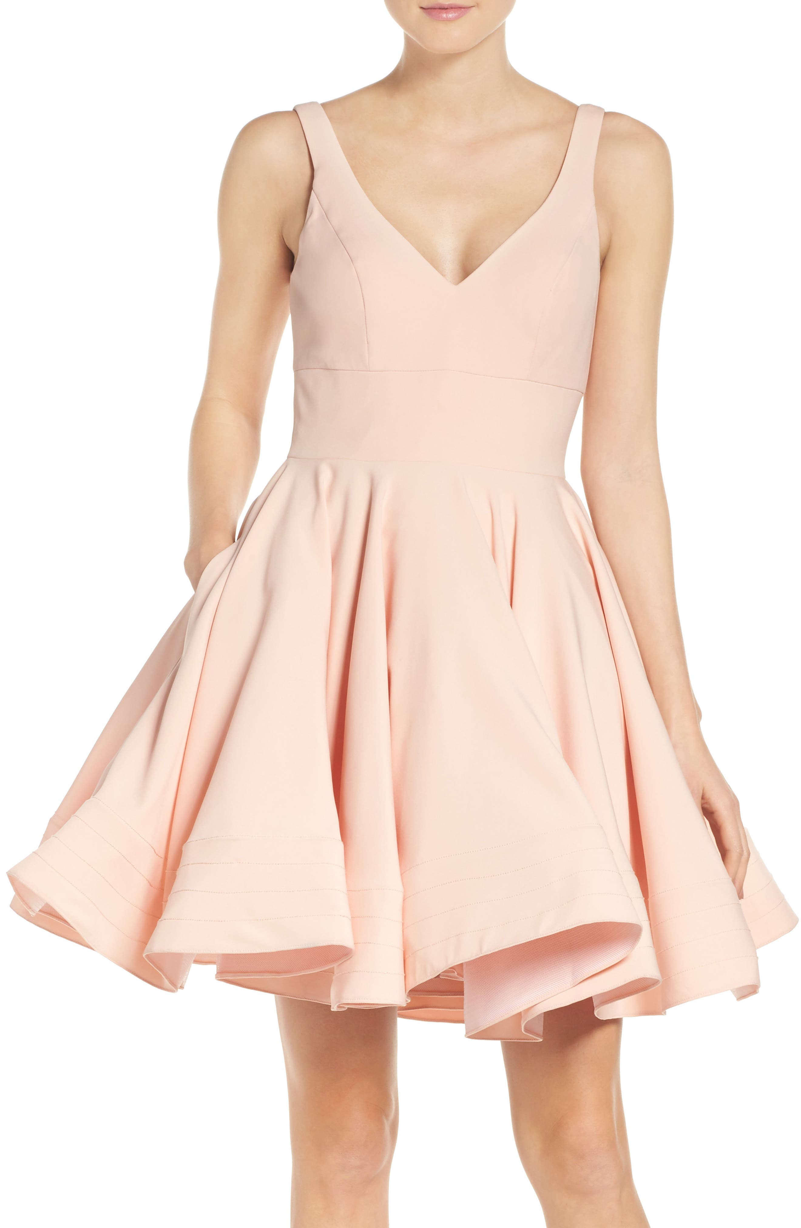 IEENA FOR MAC DUGGAL, Double V-Neck Fit & Flare Party Dress, Main thumbnail 1, color, BLUSH