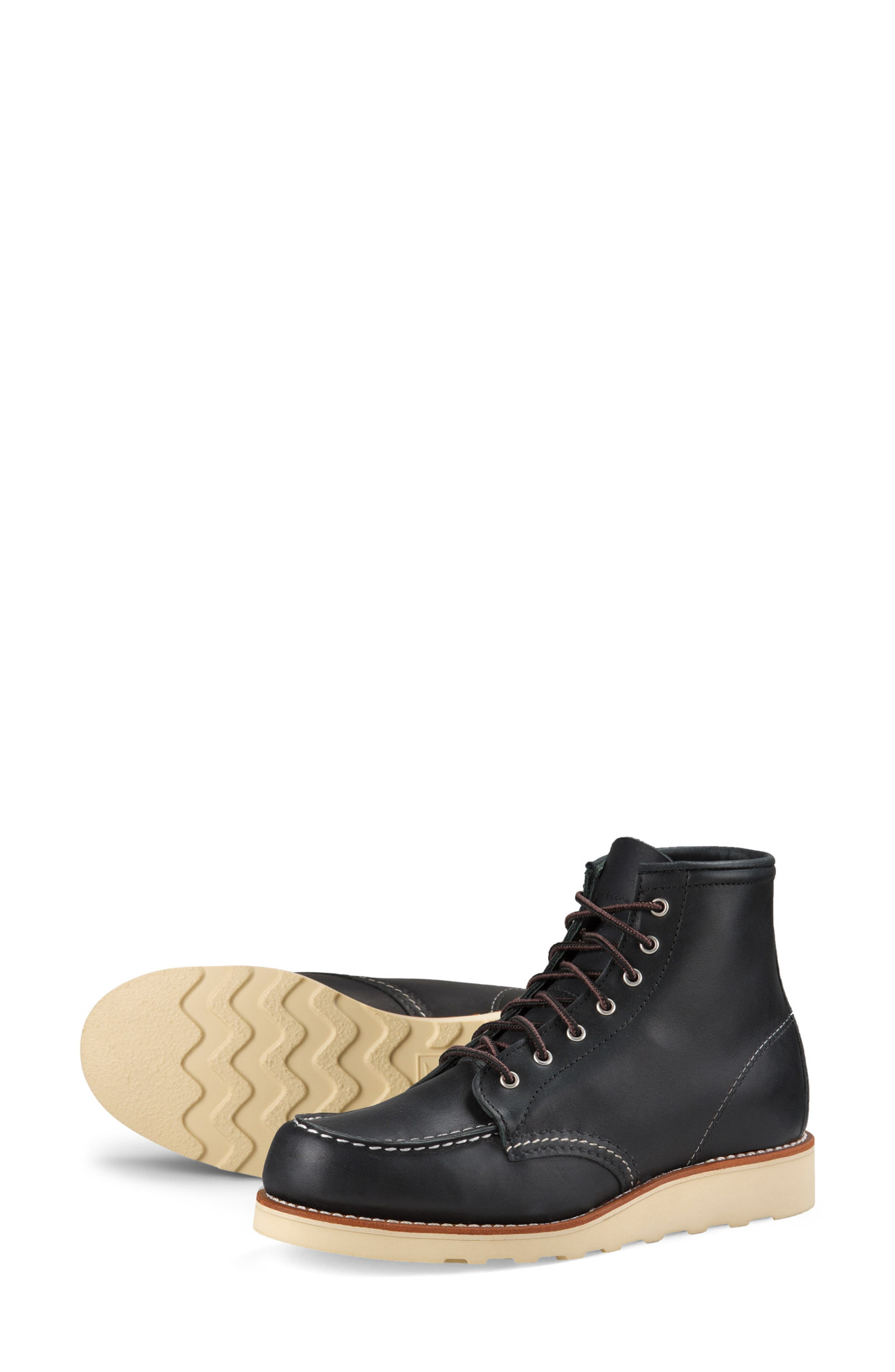 RED WING, 6-Inch Moc Boot, Alternate thumbnail 5, color, BLACK BOUNDARY LEATHER