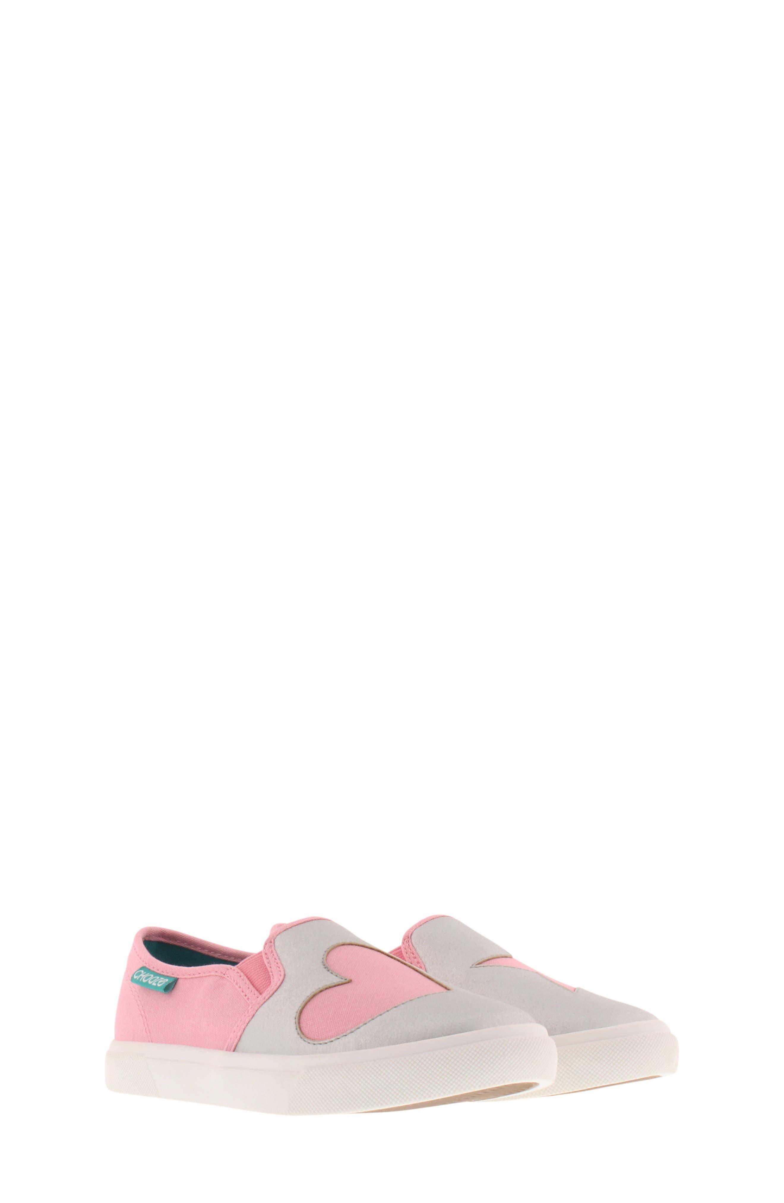 CHOOZE, Little Choice Starheart Slip-On Sneaker, Main thumbnail 1, color, SILVER