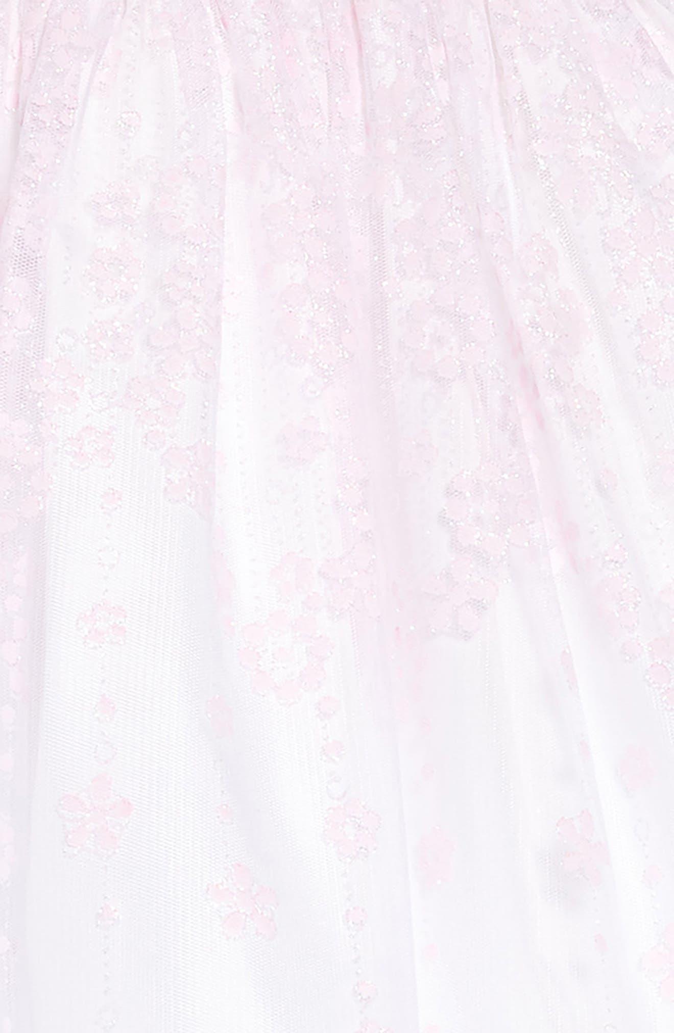 FRAIS, Flower Glitter Fit & Flare Dress, Alternate thumbnail 3, color, PINK