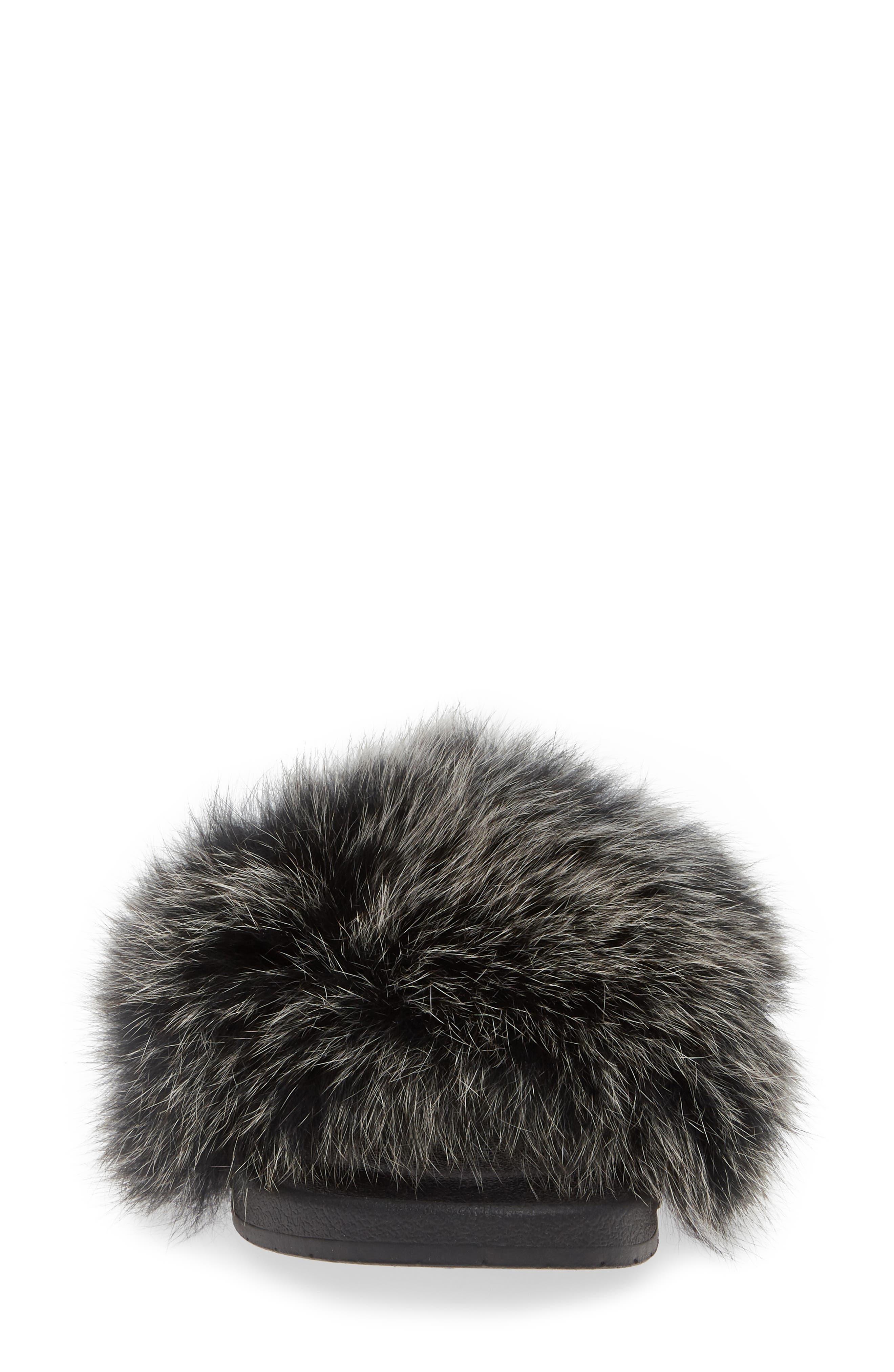 PATRICIA GREEN, Foxy Genuine Fox Fur Slipper, Alternate thumbnail 4, color, BLACK/ WHITE FUR