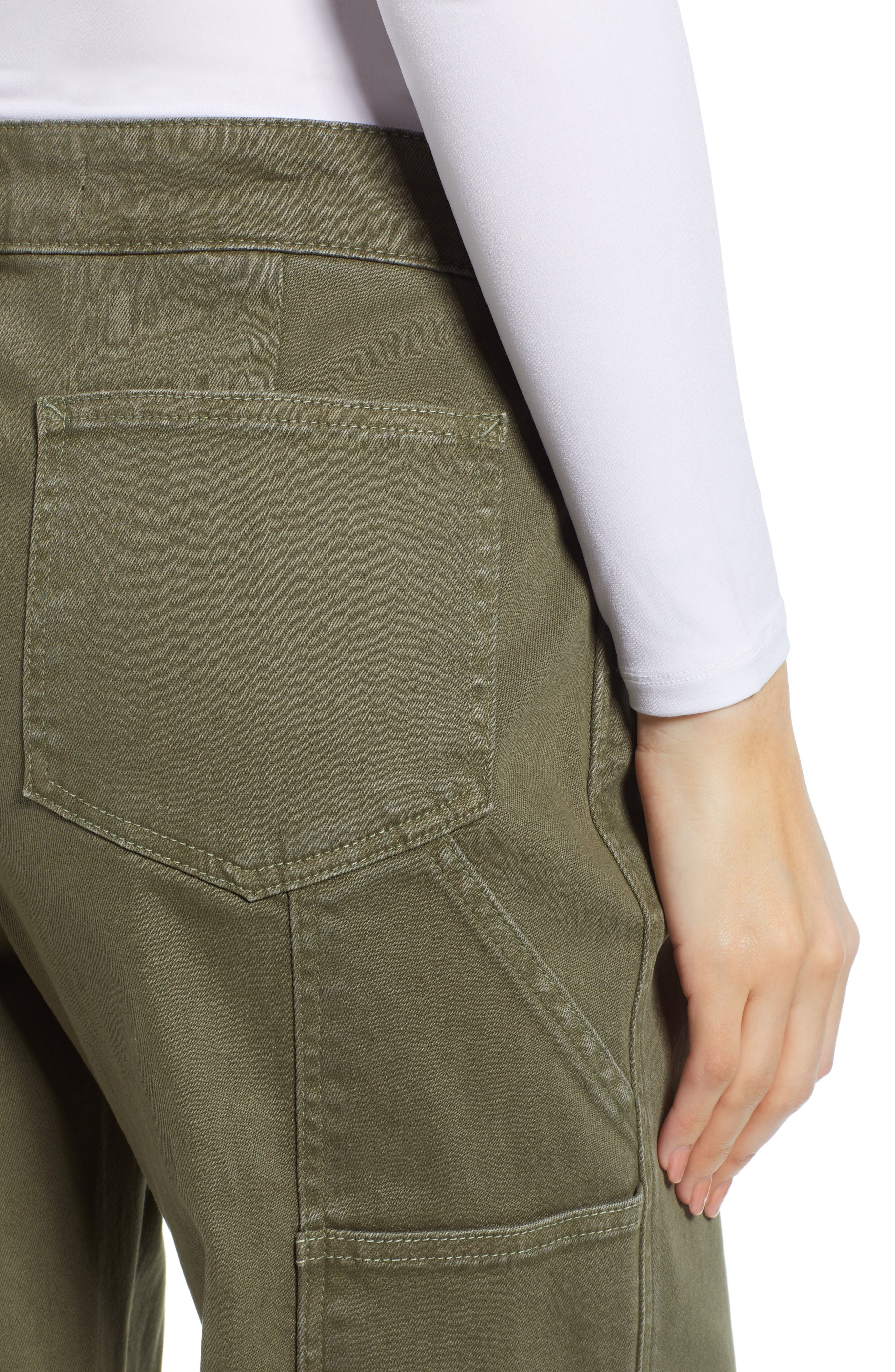 PROSPERITY DENIM, Cargo Wide Leg Crop Jeans, Alternate thumbnail 5, color, OLIVE