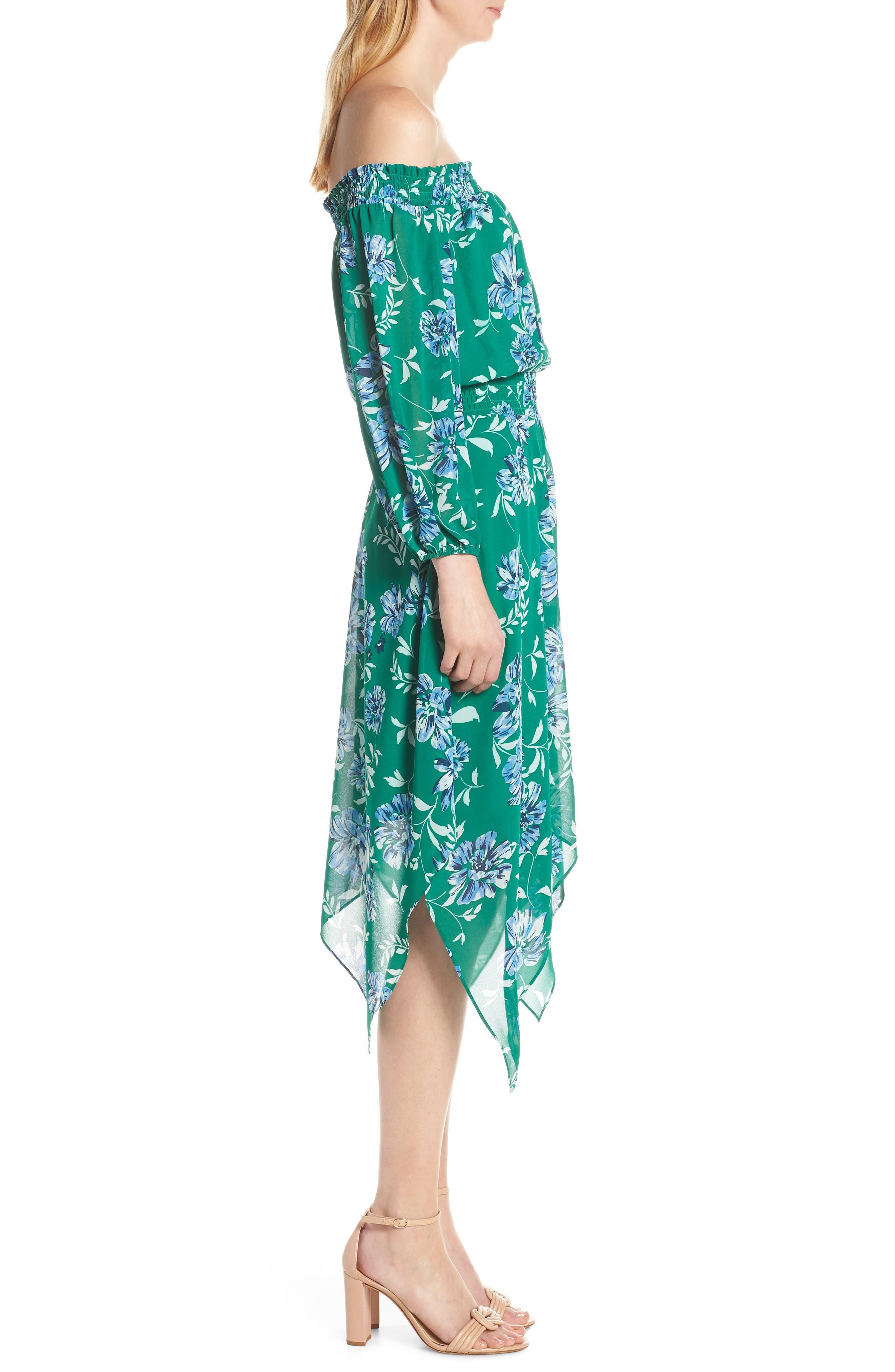 CHARLES HENRY, Smocked Handkerchief Hem Dress, Alternate thumbnail 4, color, KELLY GREEN FLORAL