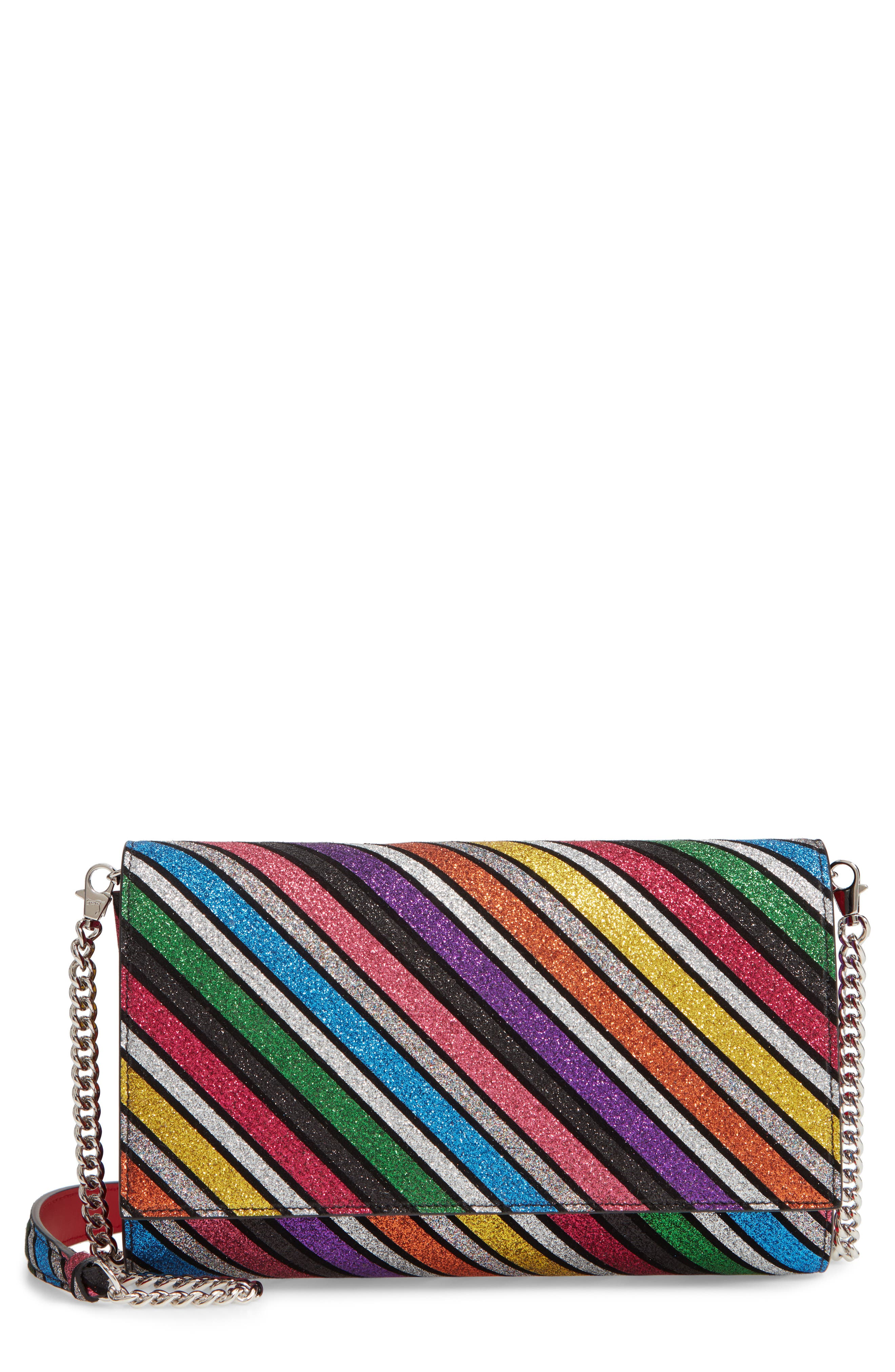 CHRISTIAN LOUBOUTIN, Paloma Glitter Rainbow Suede Clutch, Main thumbnail 1, color, 040