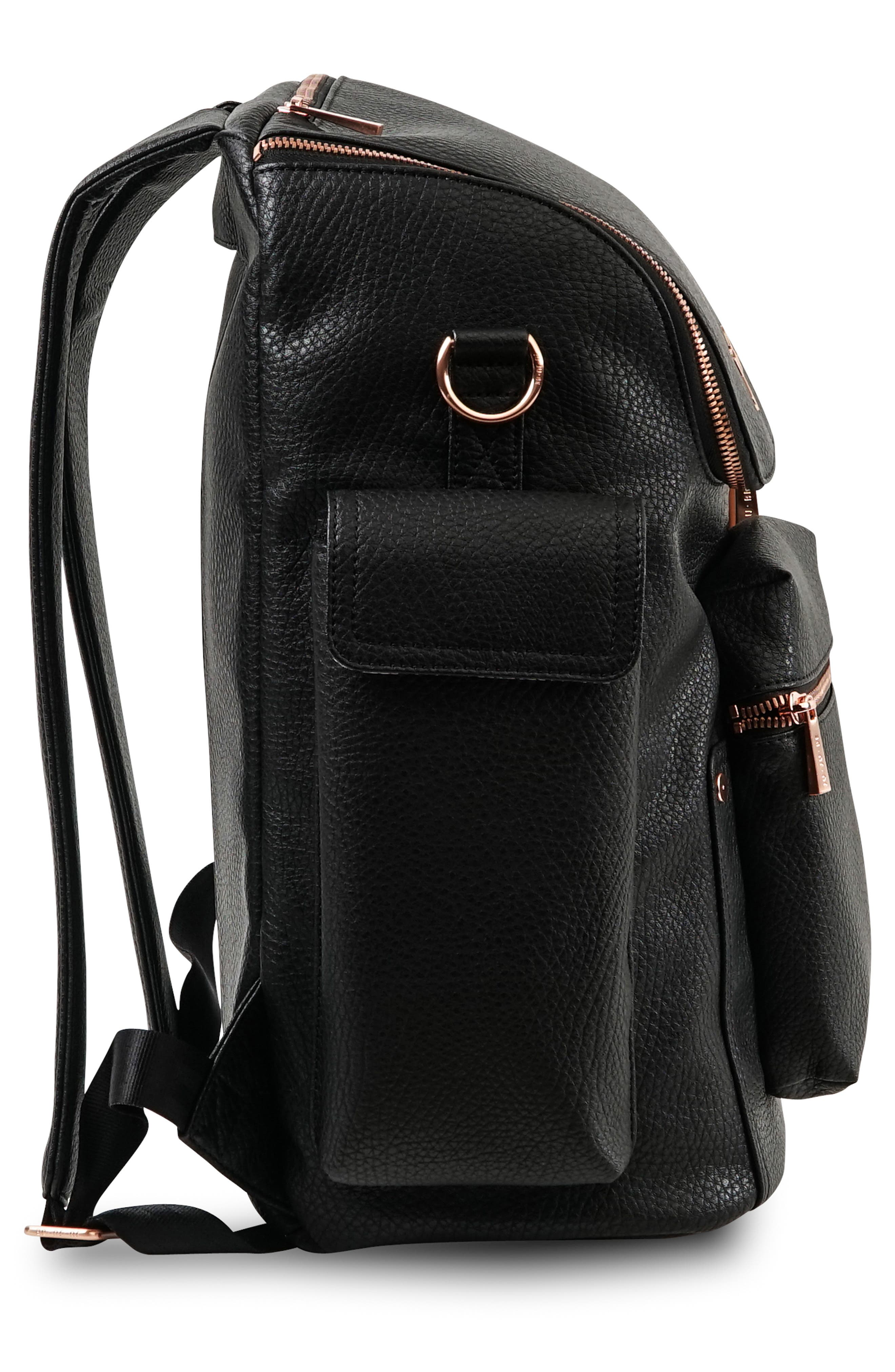 JU-JU-BE, Ever Collection Forever Faux Leather Diaper Backpack, Alternate thumbnail 3, color, NOIR NEW