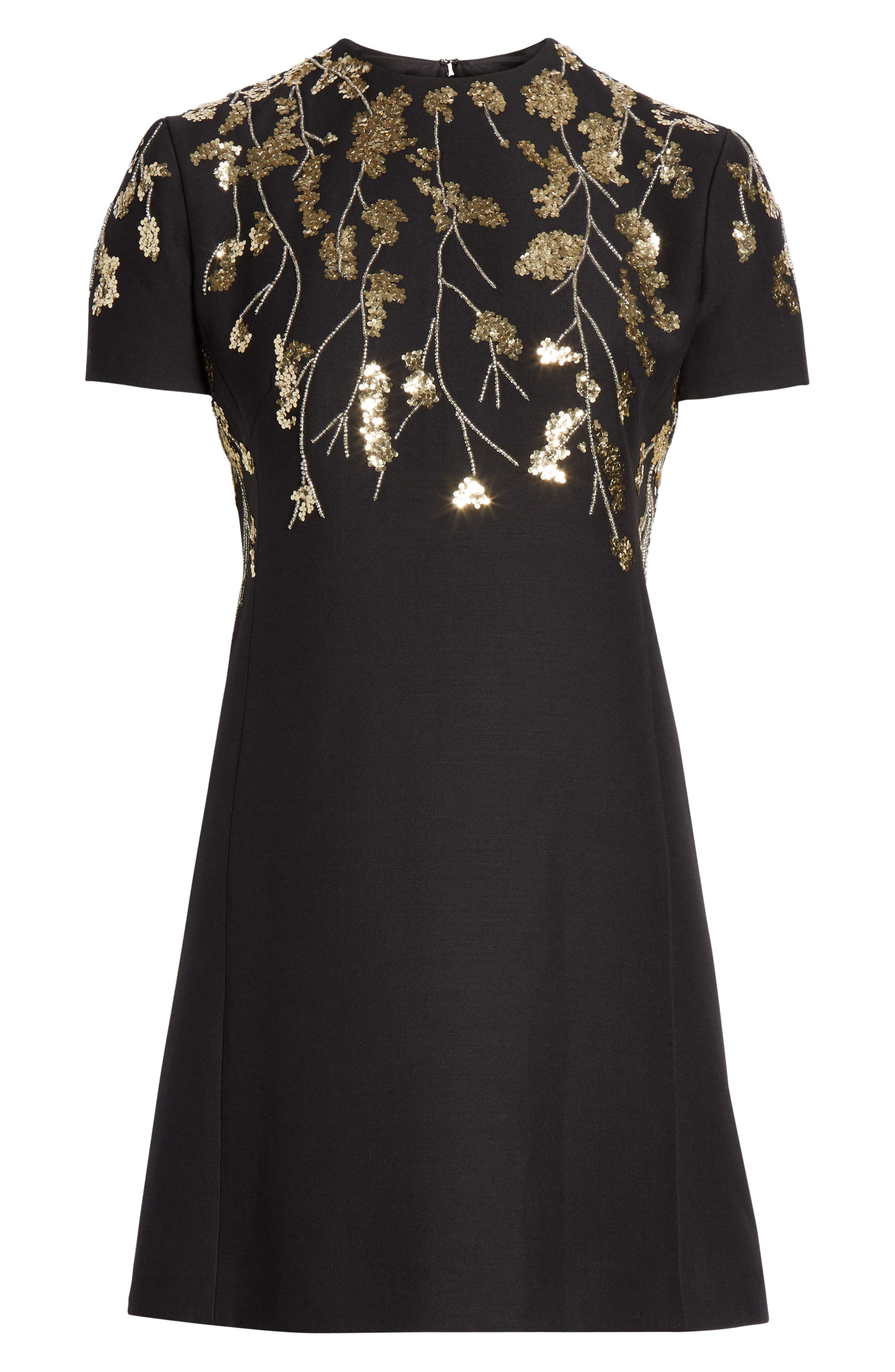 VALENTINO, Floral Embroidered Crepe Couture Dress, Alternate thumbnail 7, color, BLACK GOLD