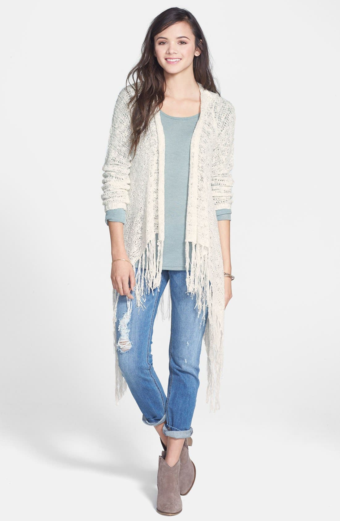 LOVE BY DESIGN, Fringe Hooded Cardigan, Main thumbnail 1, color, 900