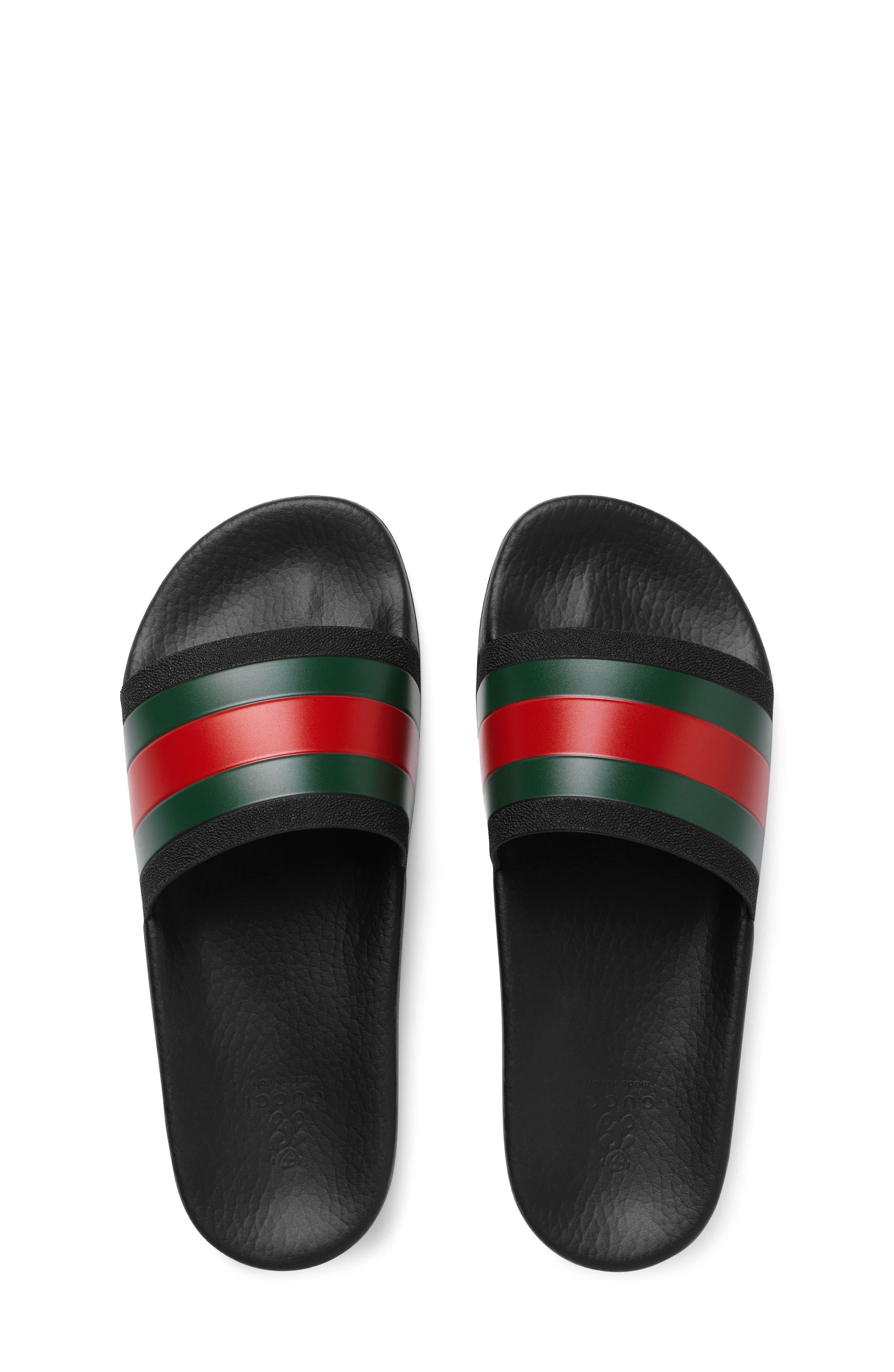 GUCCI, Pursuit Slide Sandal, Alternate thumbnail 5, color, BLACK/ GREEN/ RED
