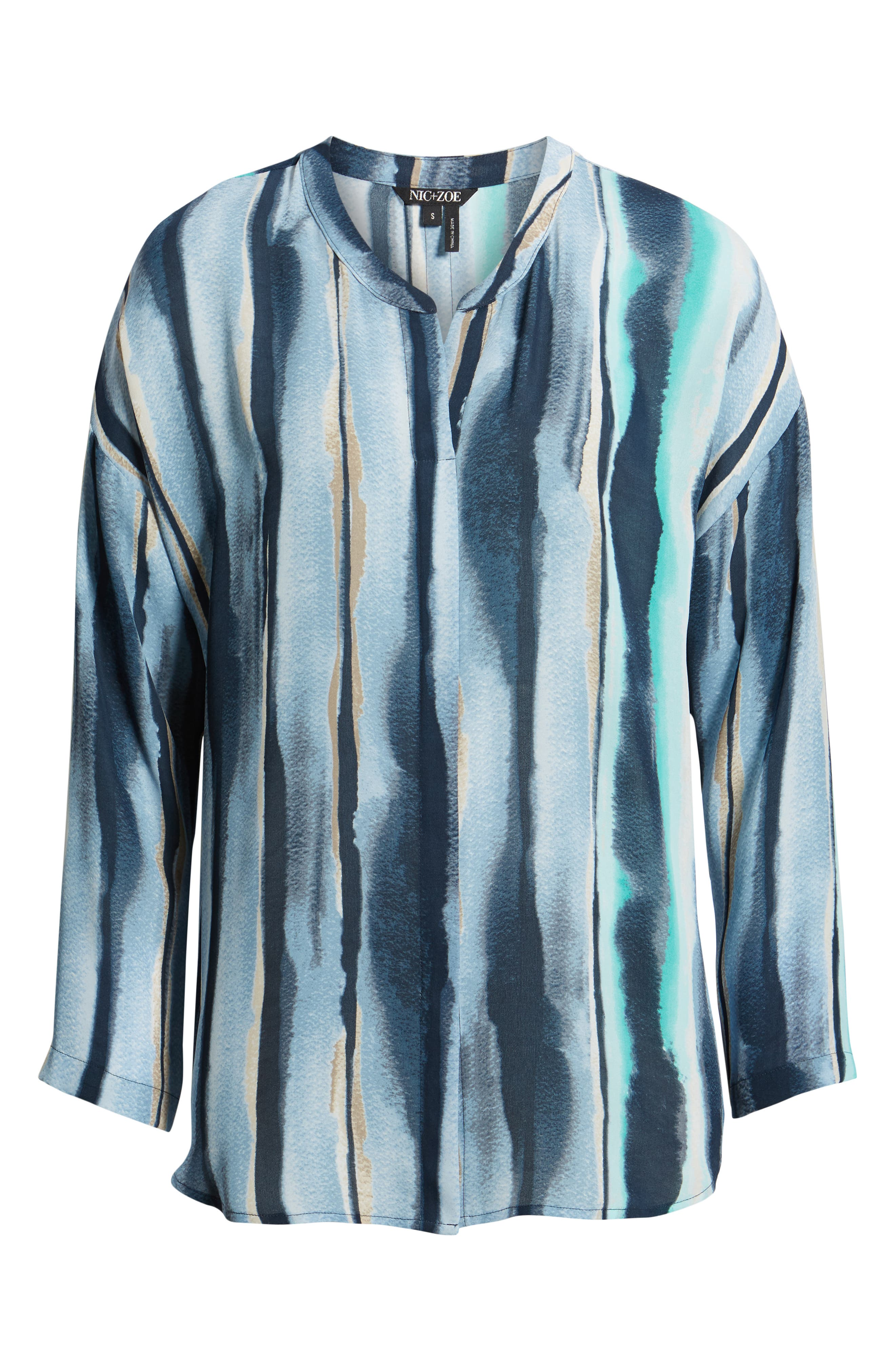 NIC+ZOE, Sea Stripe Long Sleeve Top, Alternate thumbnail 6, color, MULTI