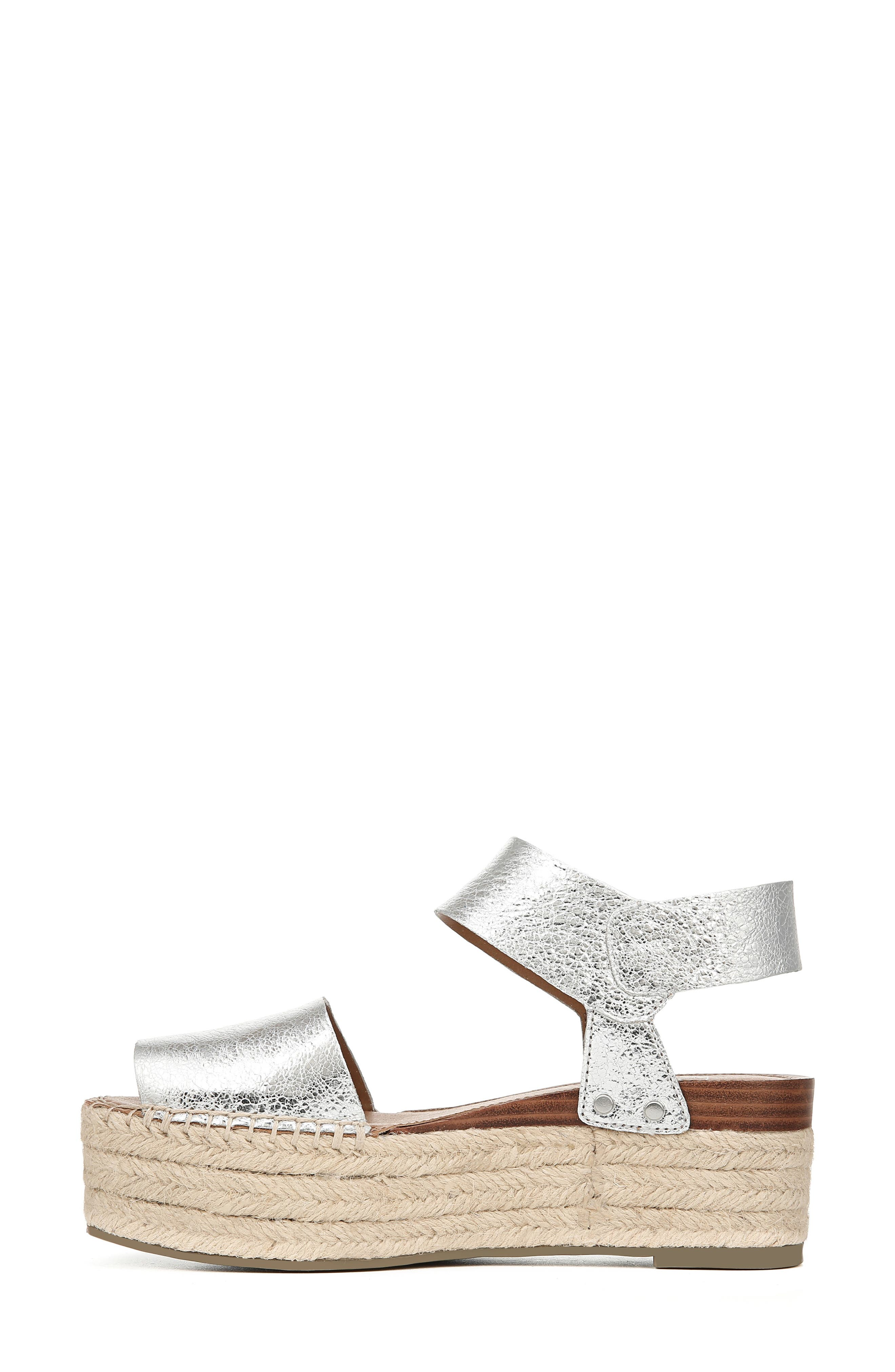 SARTO BY FRANCO SARTO, Leo Platform Espadrille Sandal, Alternate thumbnail 9, color, SILVER LEATHER