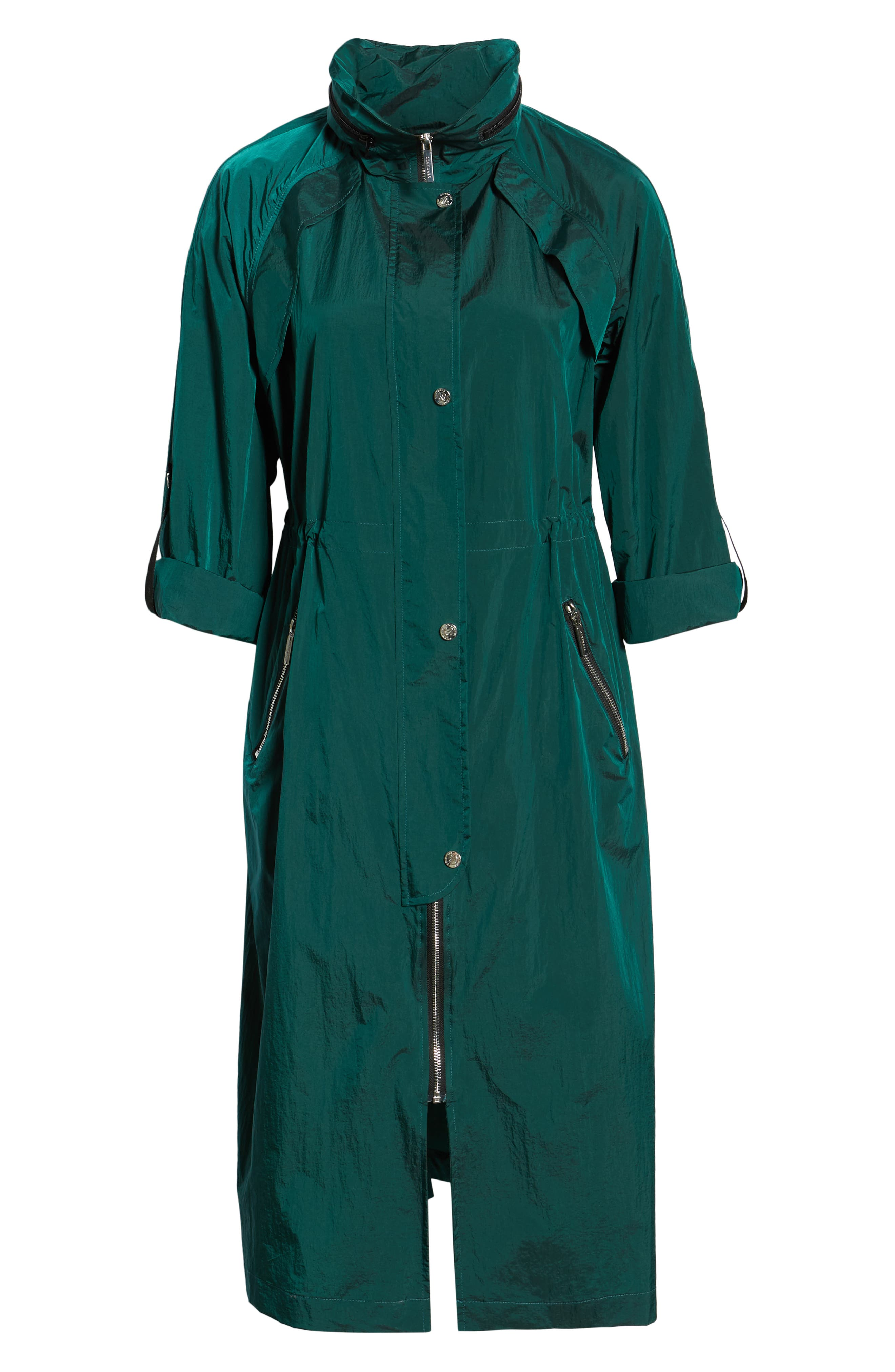 BERNARDO, Crinkle Nylon Long Hooded Parka, Alternate thumbnail 5, color, GREEN