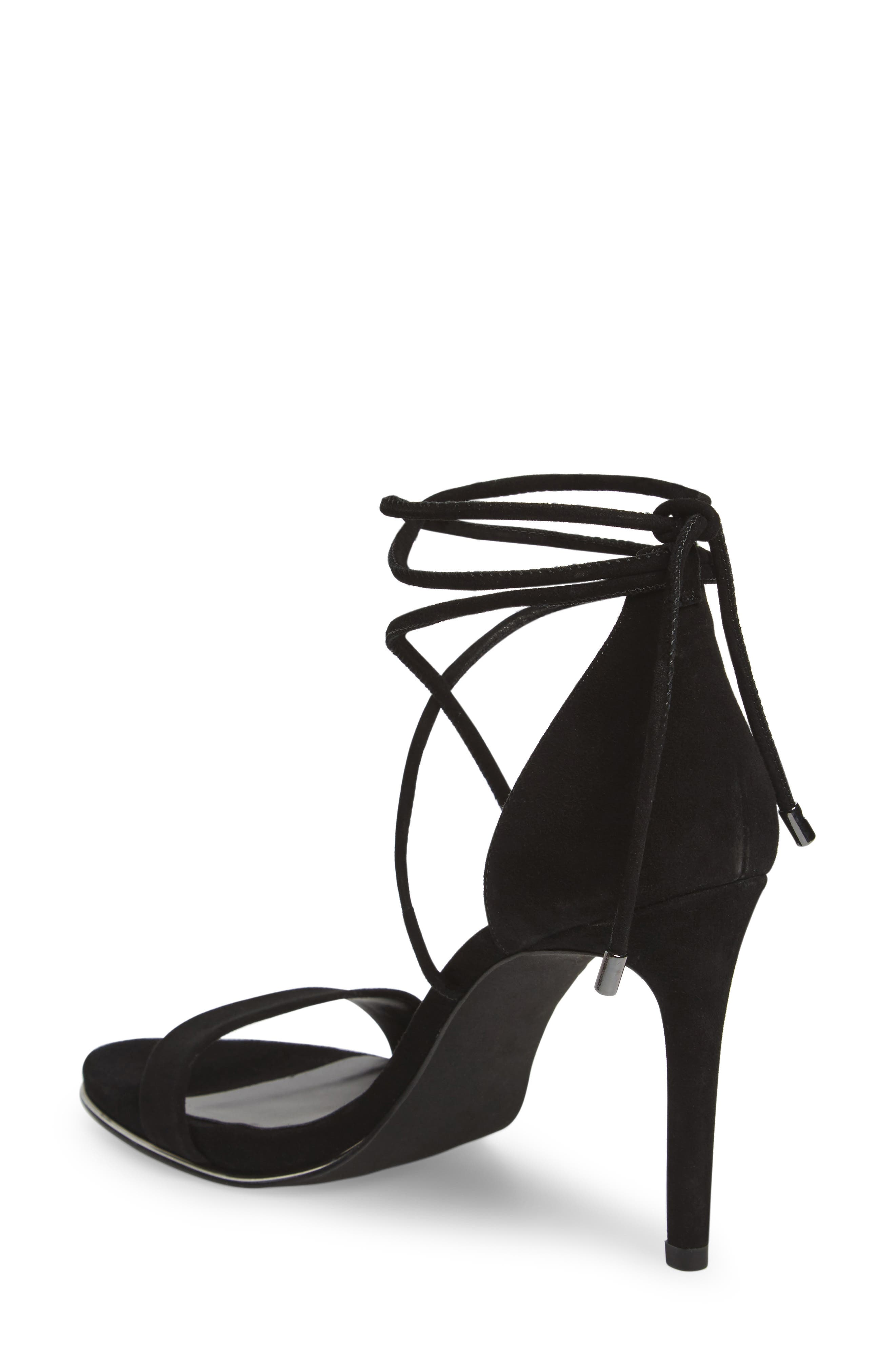 KENNETH COLE NEW YORK, Berry Wraparound Sandal, Alternate thumbnail 2, color, BLACK SUEDE